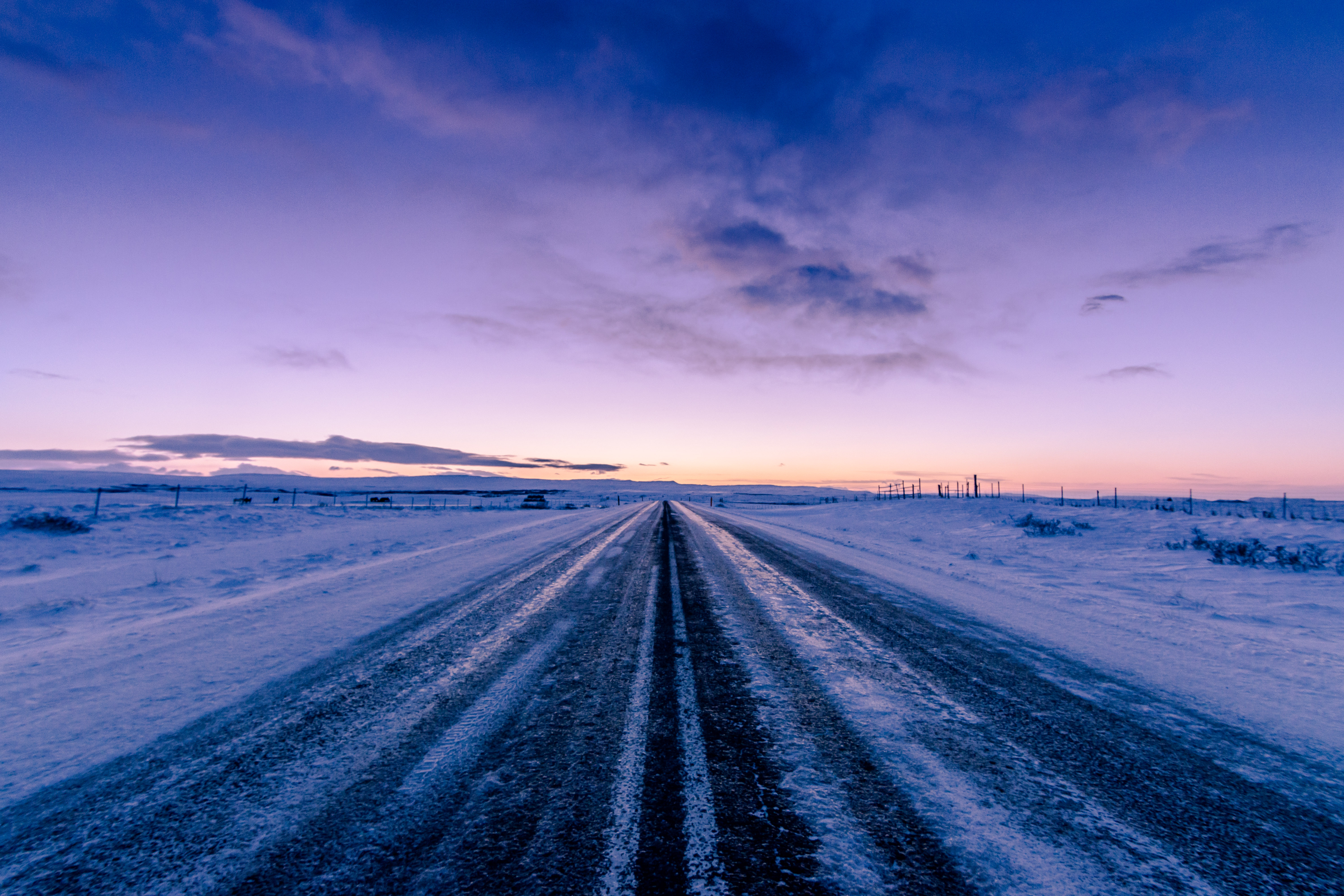 94891 Screensavers and Wallpapers Twilight for phone. Download Winter, Nature, Twilight, Snow, Horizon, Road, Dusk, Direction pictures for free
