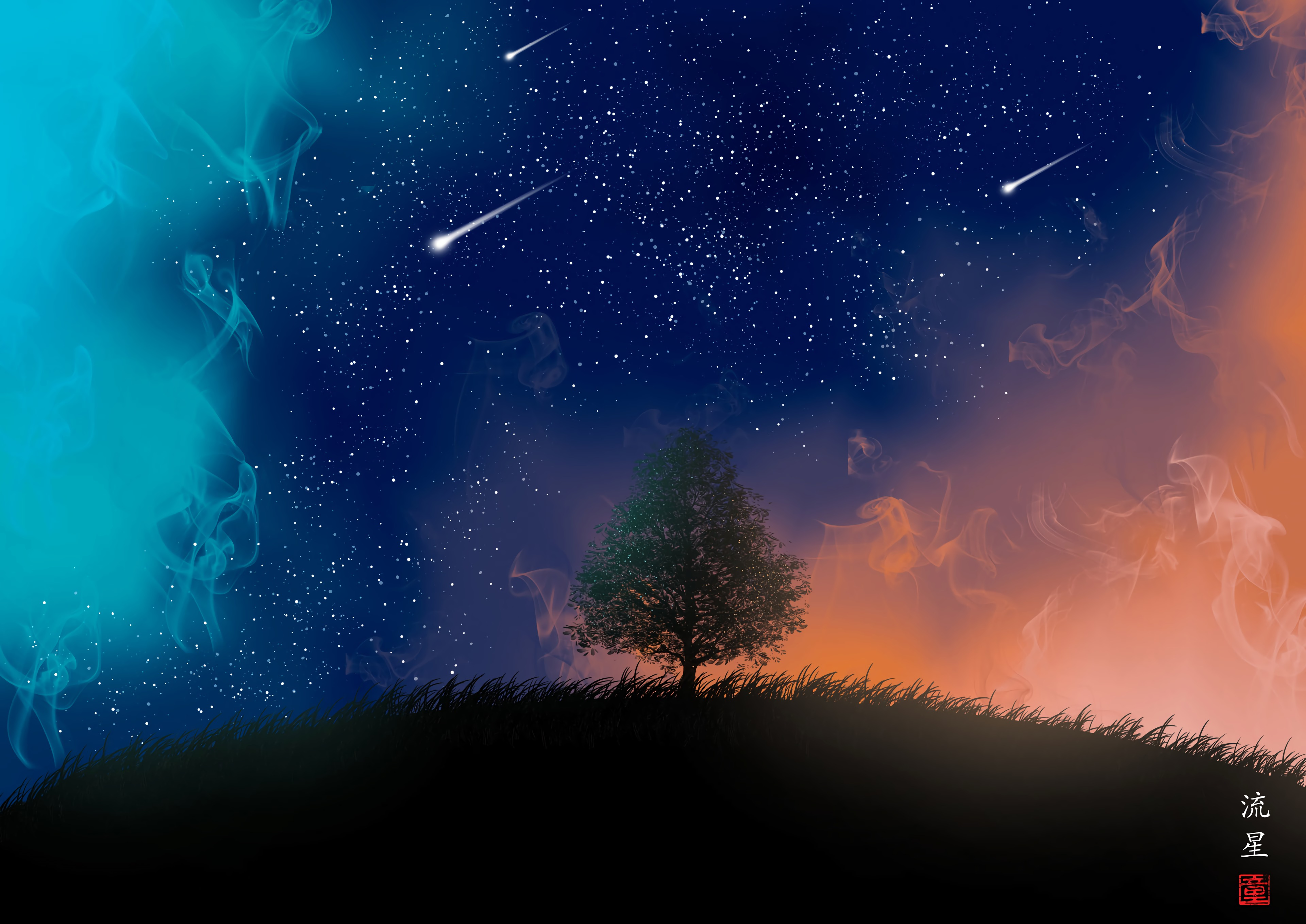 139986 Hintergrundbild herunterladen Kunst, Raucher, Sterne, Übernachtung, Holz, Baum, Meteora, Meteore - Bildschirmschoner und Bilder kostenlos