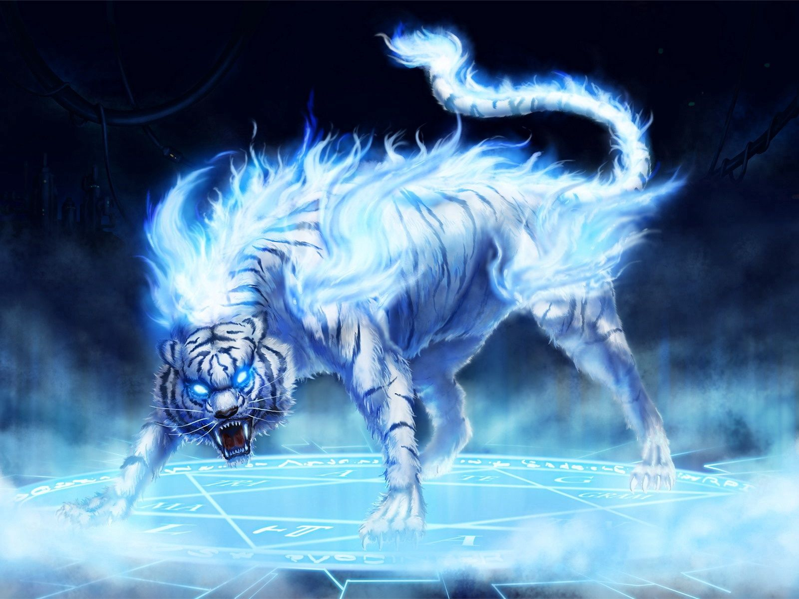 75611 download wallpaper Fantasy, Tiger, Fire, Anger, Eyes screensavers and pictures for free