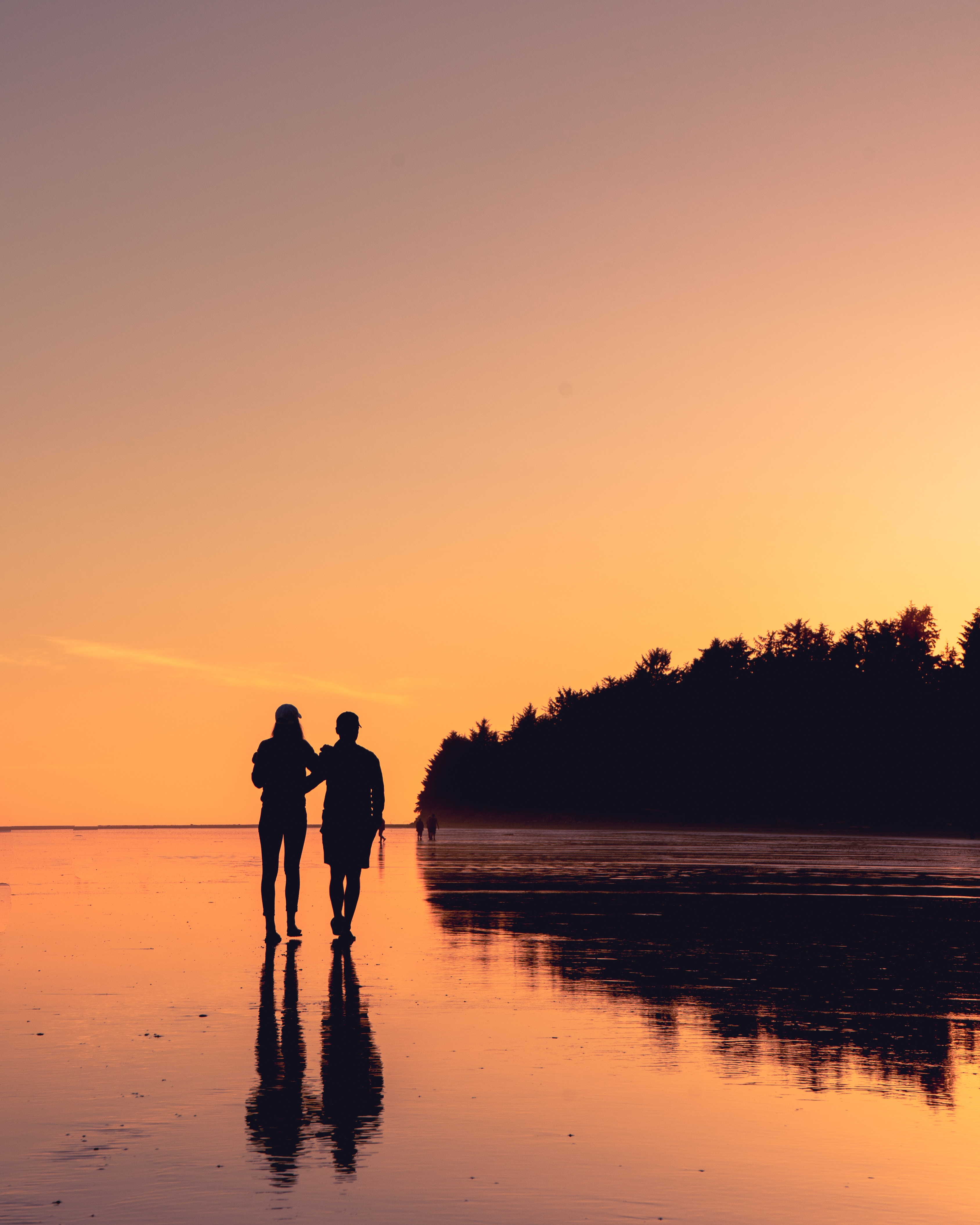 100771 free wallpaper 2160x3840 for phone, download images Sunset, Love, Reflection, Shore, Bank, Couple, Pair, Stroll 2160x3840 for mobile