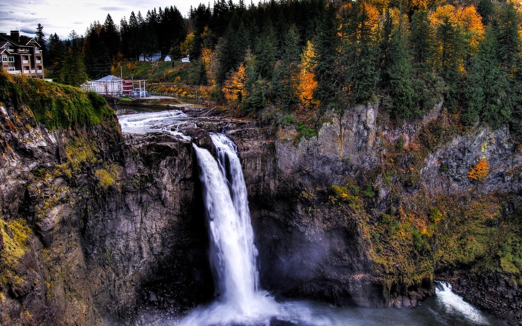12980 скачать обои Пейзаж, Вода, Горы, Осень, Водопады - заставки и картинки бесплатно
