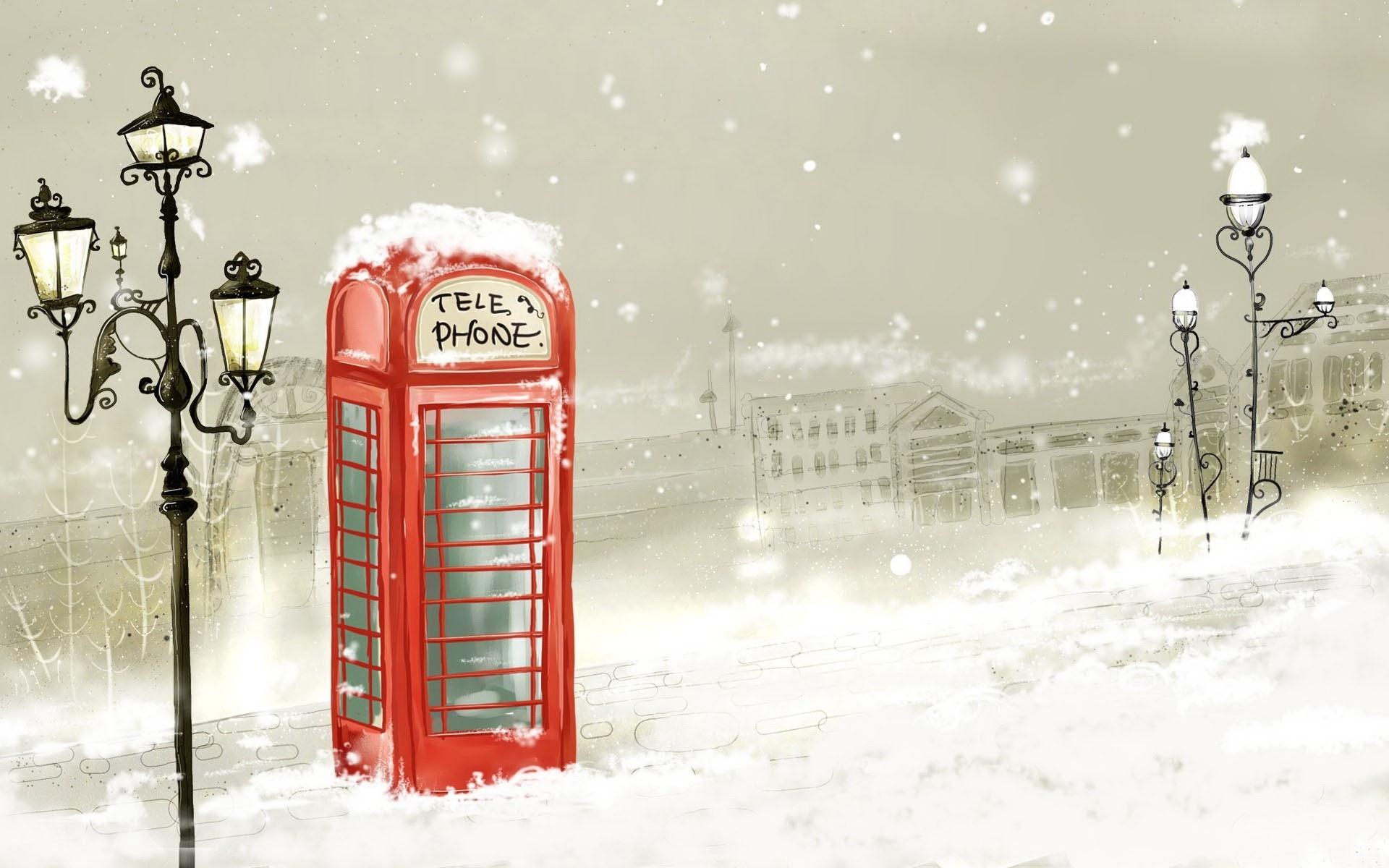 20419 скачать обои Пейзаж, Города, Снег, Рисунки - заставки и картинки бесплатно