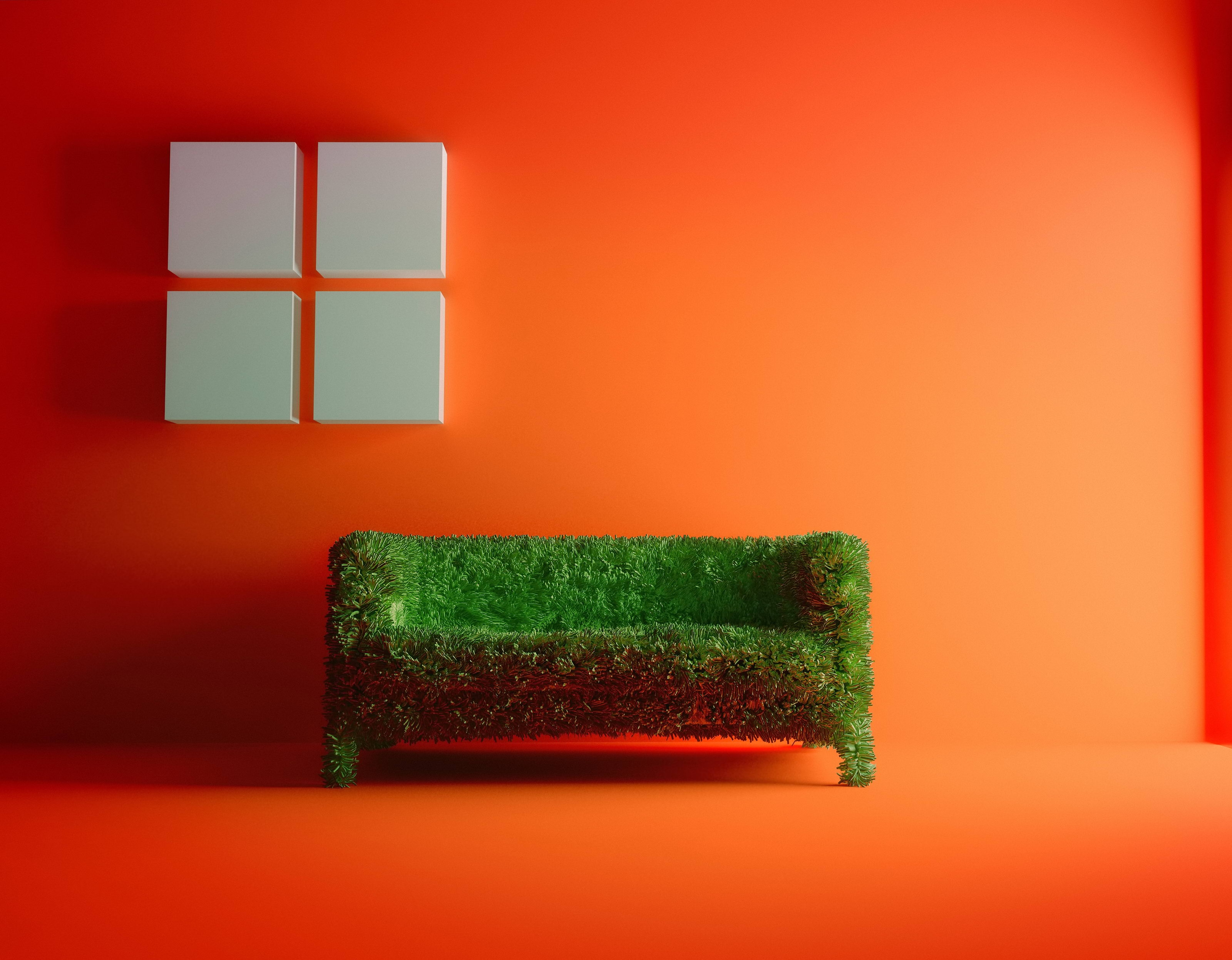 136586 Screensavers and Wallpapers Room for phone. Download Miscellanea, Miscellaneous, Sofa, Grass, Room, Orange Background pictures for free
