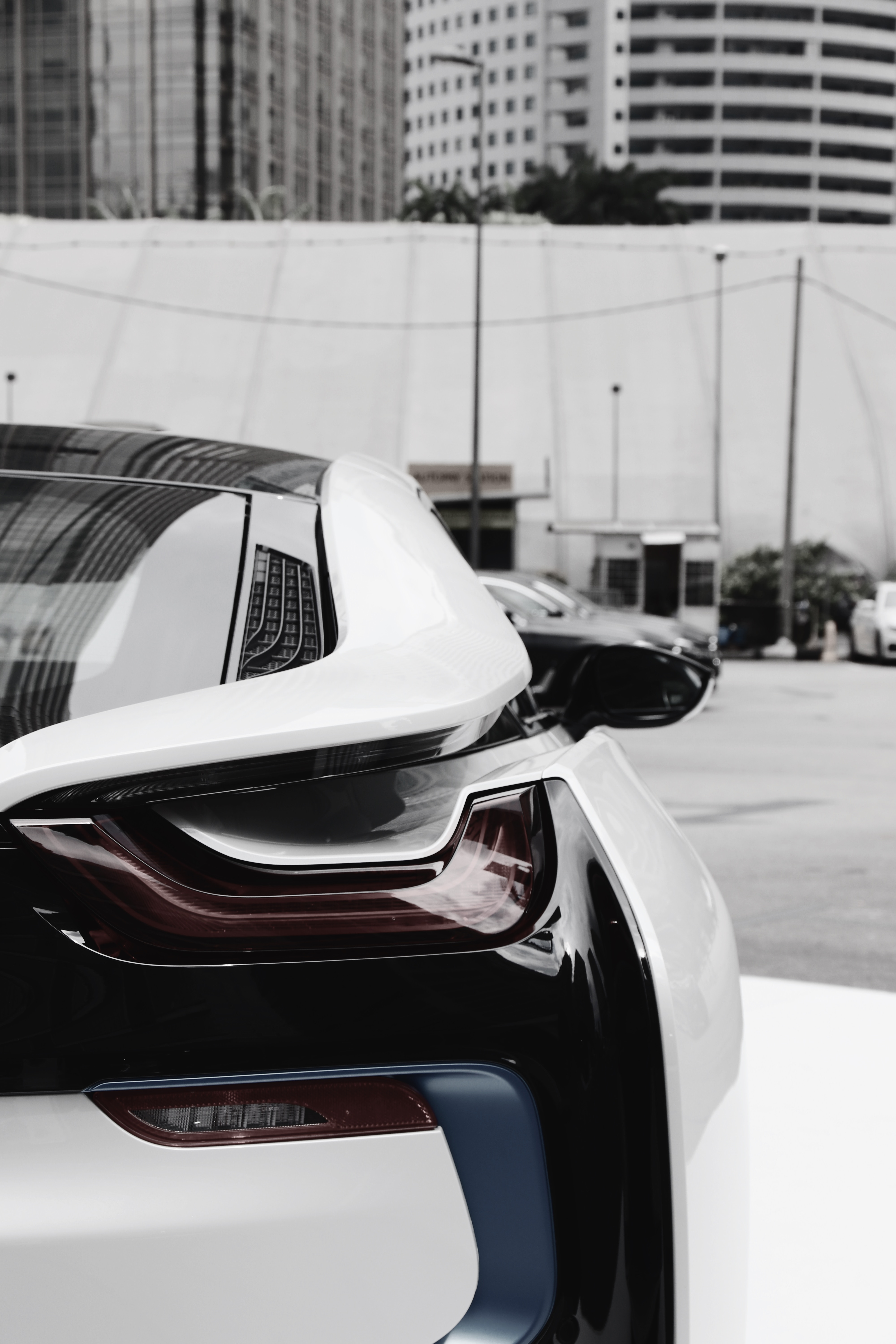 62724 download wallpaper Bmw, Cars, Car, Back View, Rear View, Headlight, Bmw I8 screensavers and pictures for free