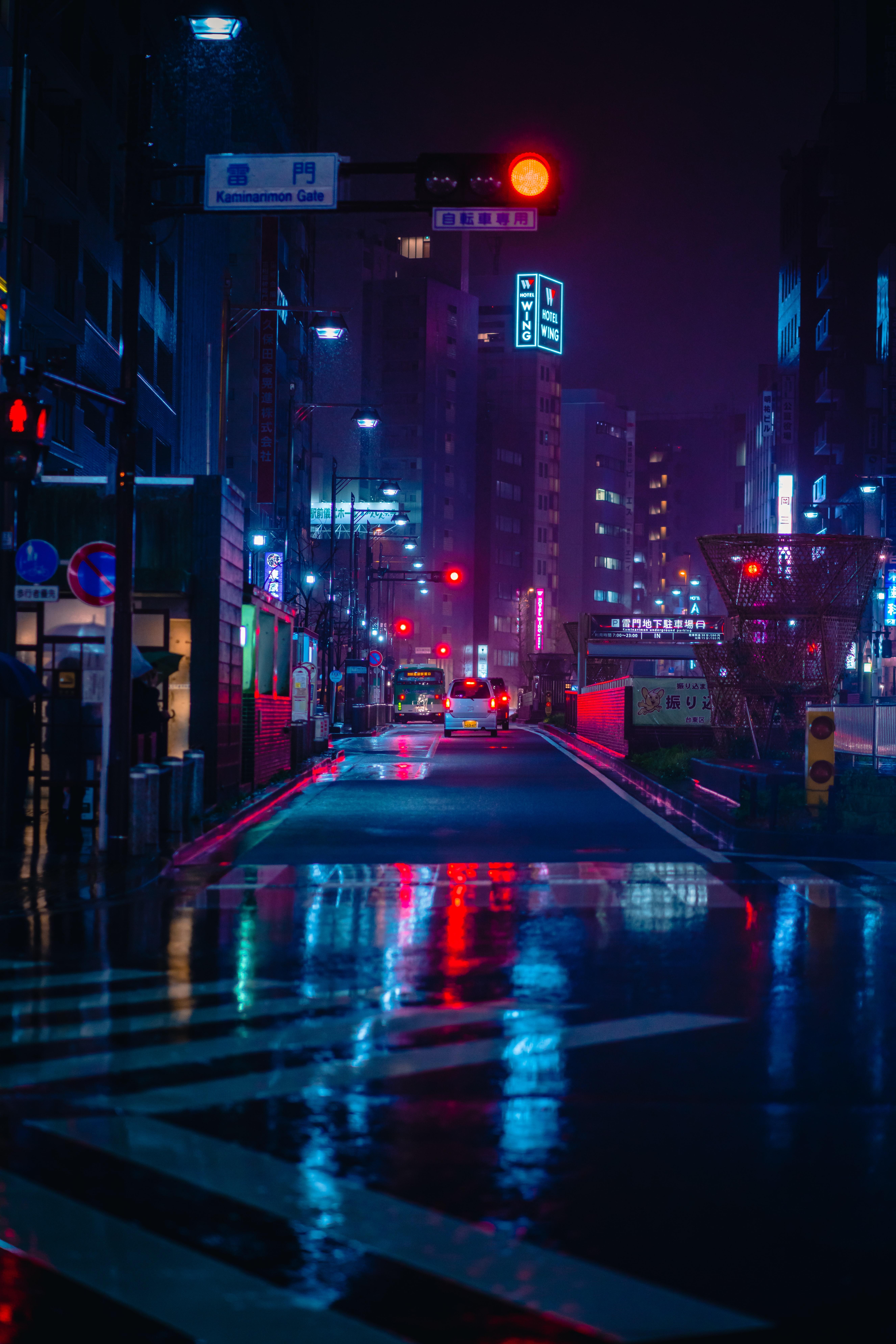 150796 скачать обои Улица, Ночной Город, Неон, Дорога, Города, Машины - заставки и картинки бесплатно