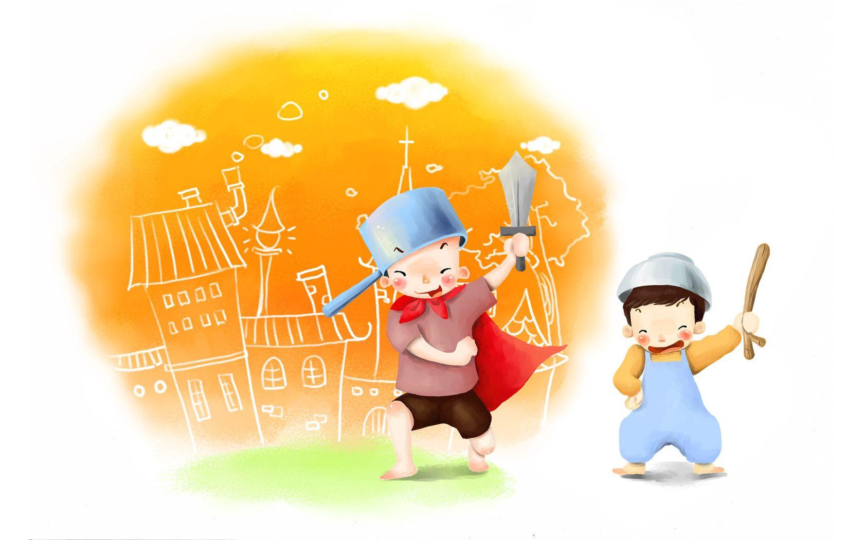 117786 Hintergrundbild herunterladen Spiele, Kinder, Spielzeug, Verschiedenes, Sonstige, Bild, Zeichnung, Kleinkinder, Jungen, Topf, Kindheit, Schwert, Freude, Pfanne, Streiche - Bildschirmschoner und Bilder kostenlos