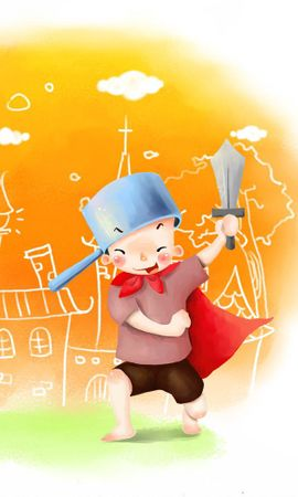 117786 download wallpaper Miscellanea, Miscellaneous, Picture, Drawing, Childhood, Boys, Toddlers, Kids, Pranks, Toys, Sword, Pan, Saucepan, Joy, Games screensavers and pictures for free
