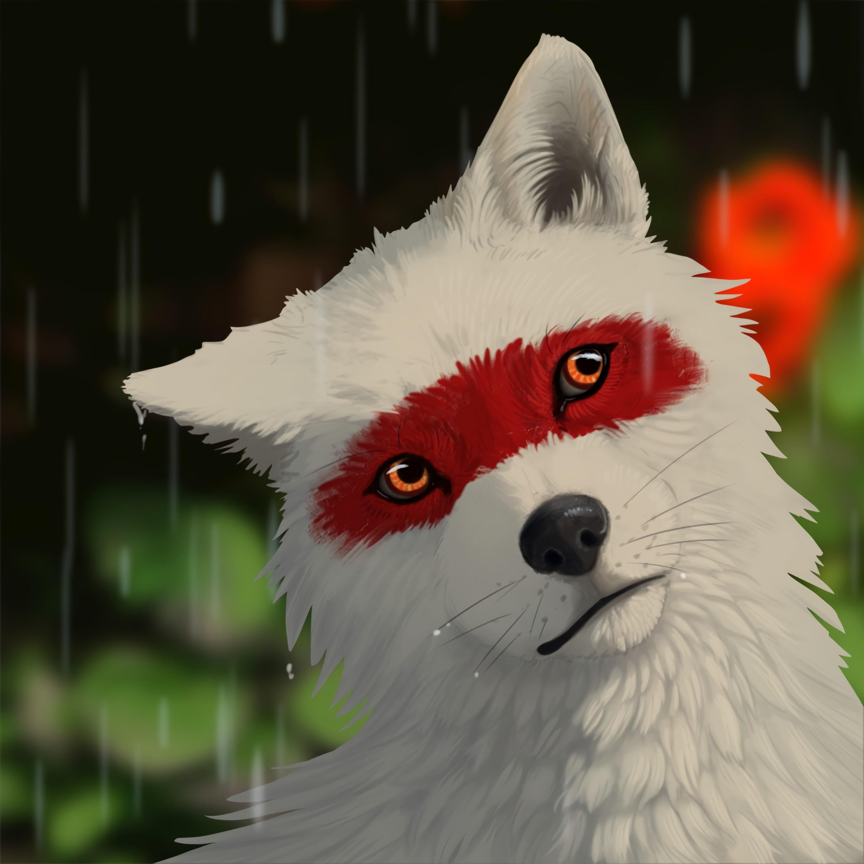 131804 скачать обои Волк, Белый, Дождь, Капли, Арт - заставки и картинки бесплатно