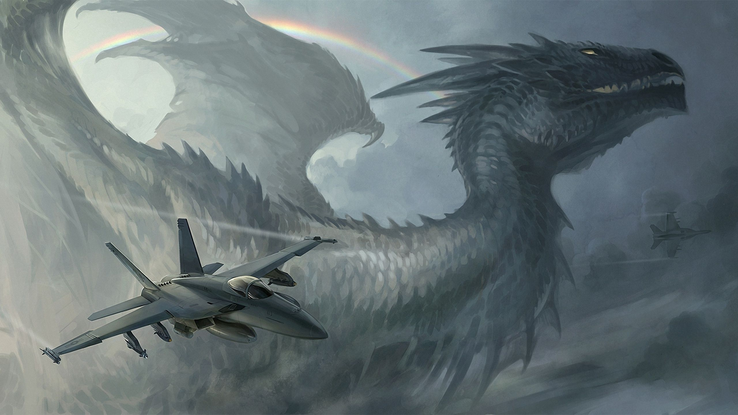 86243 download wallpaper Fantasy, Sky, Rainbow, Dragon, Plane, Airplane, Rocket, Rockets screensavers and pictures for free