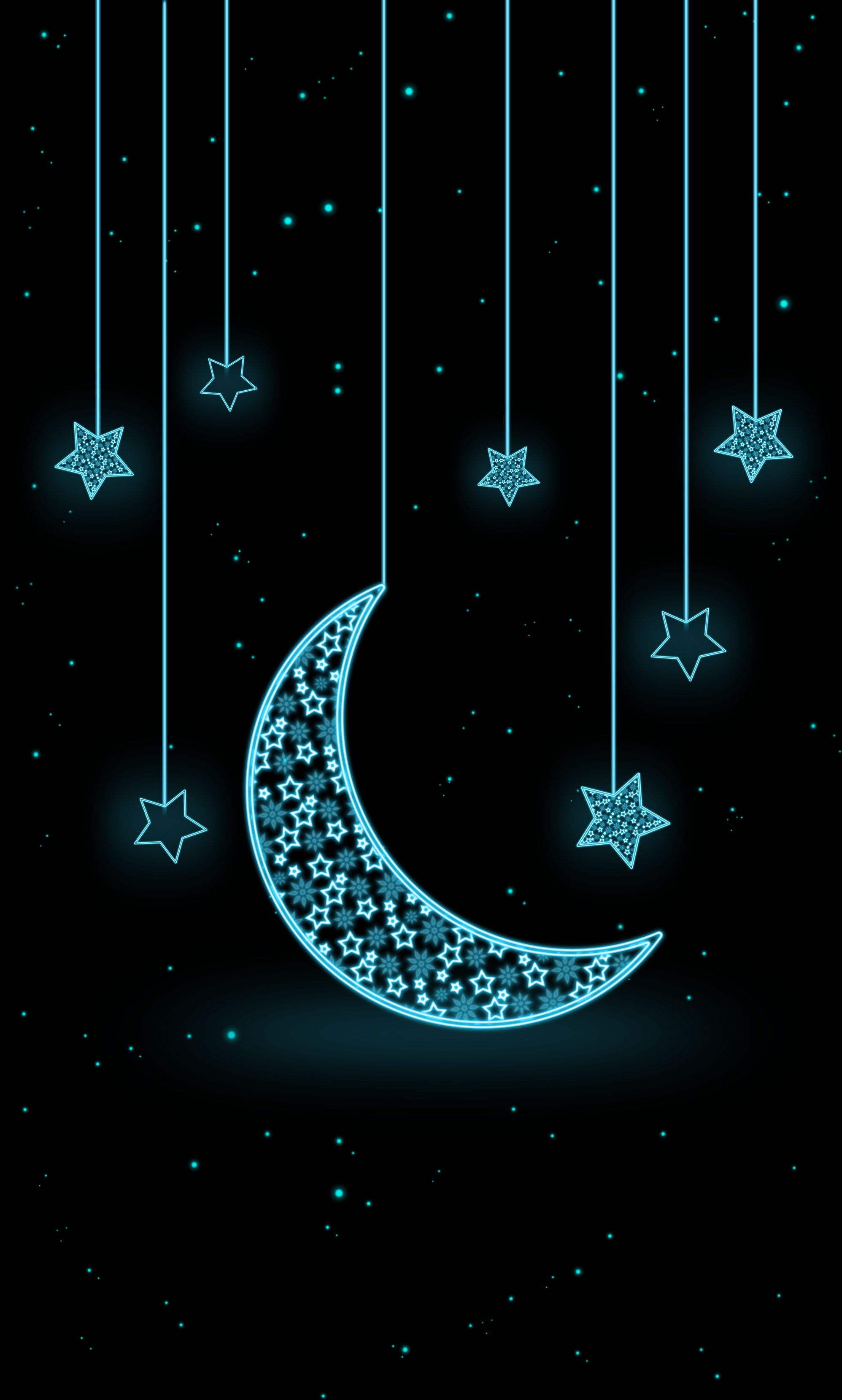 68081 download wallpaper Art, Stars, Moon, Neon, Crescent screensavers and pictures for free