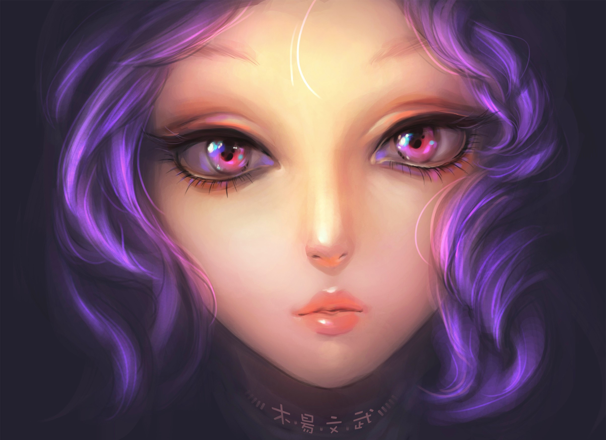 113927 Screensavers and Wallpapers Eyes for phone. Download Art, Eyes, Girl, Painting, Lilac Hair pictures for free