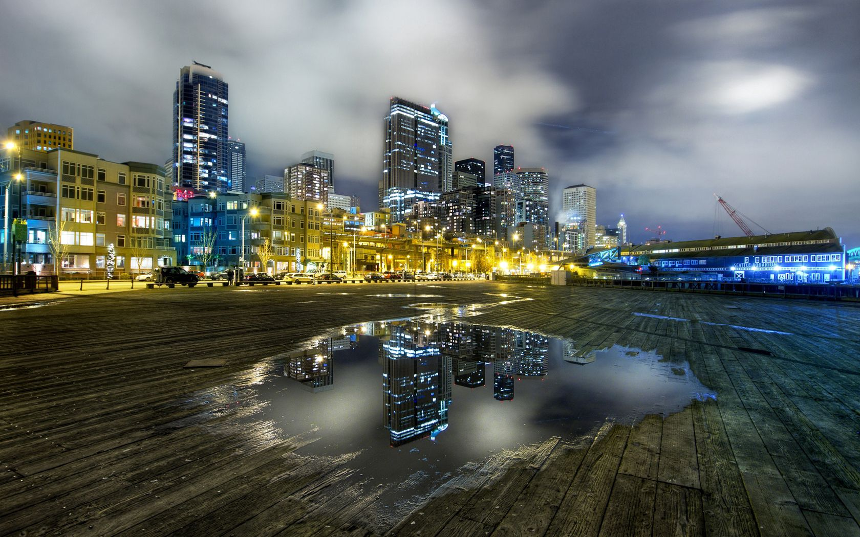 125488 download wallpaper City, Seattle, Usa, United States, Morning, Grey Sky, Grey Skies, Lights, Puddle, Reflection, Planks, Board, Hdr, Cities screensavers and pictures for free