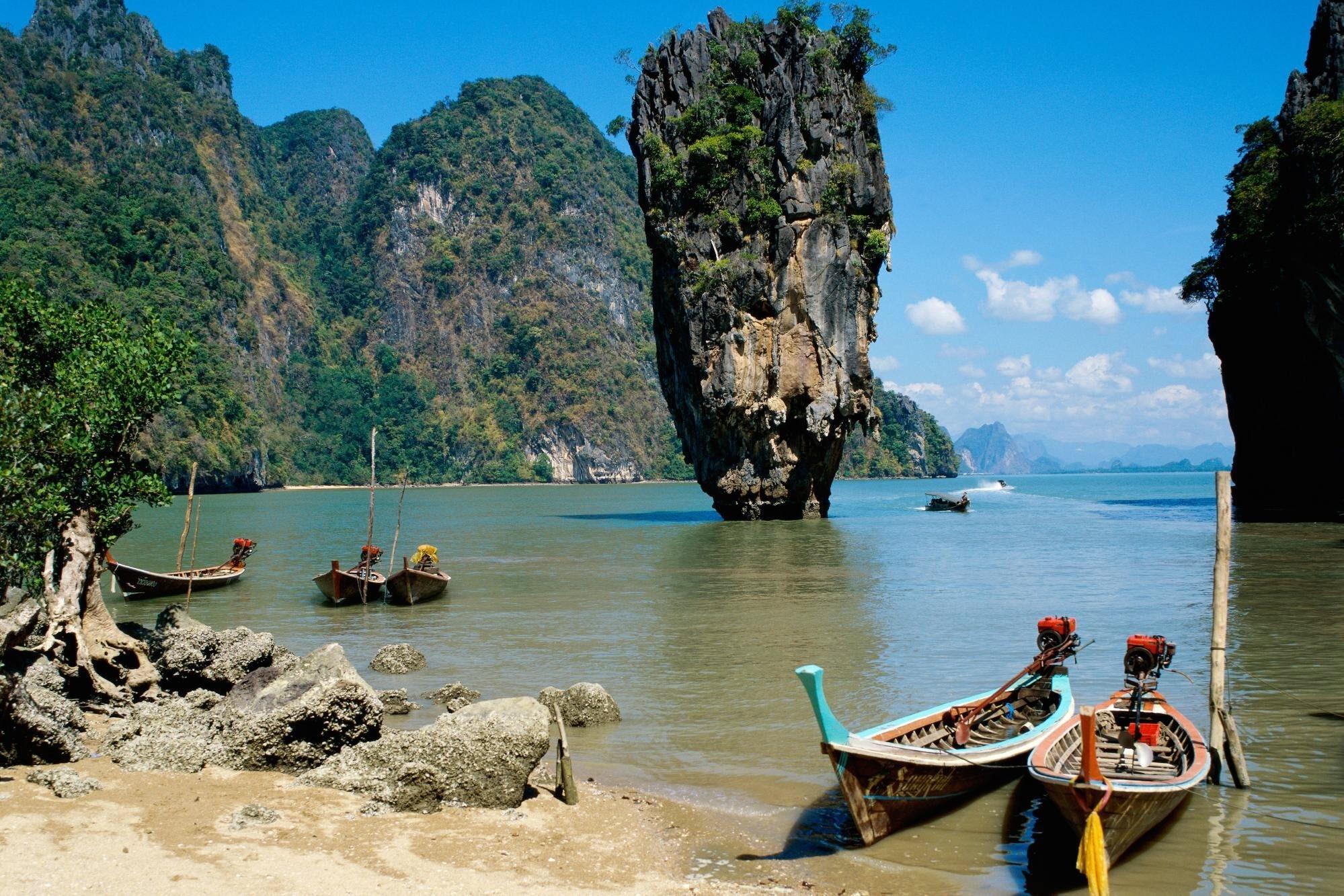 127129 Заставки и Обои Азия на телефон. Скачать Природа, Море, Песок, Азия, Лодки, Скалы, Берег картинки бесплатно