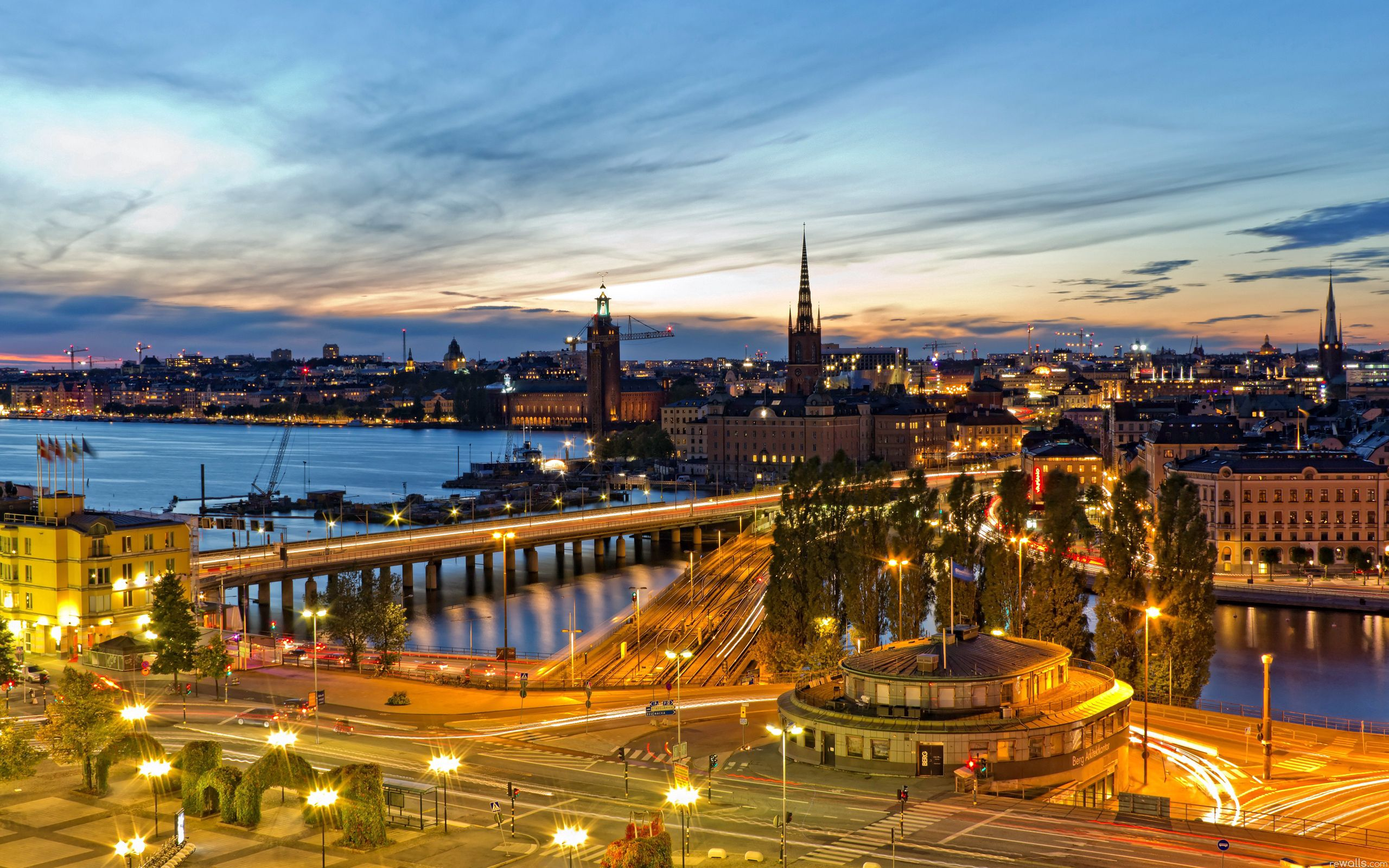 117433 free wallpaper 720x1520 for phone, download images Cities, City Lights, Evening, Stockholm, Sweden 720x1520 for mobile