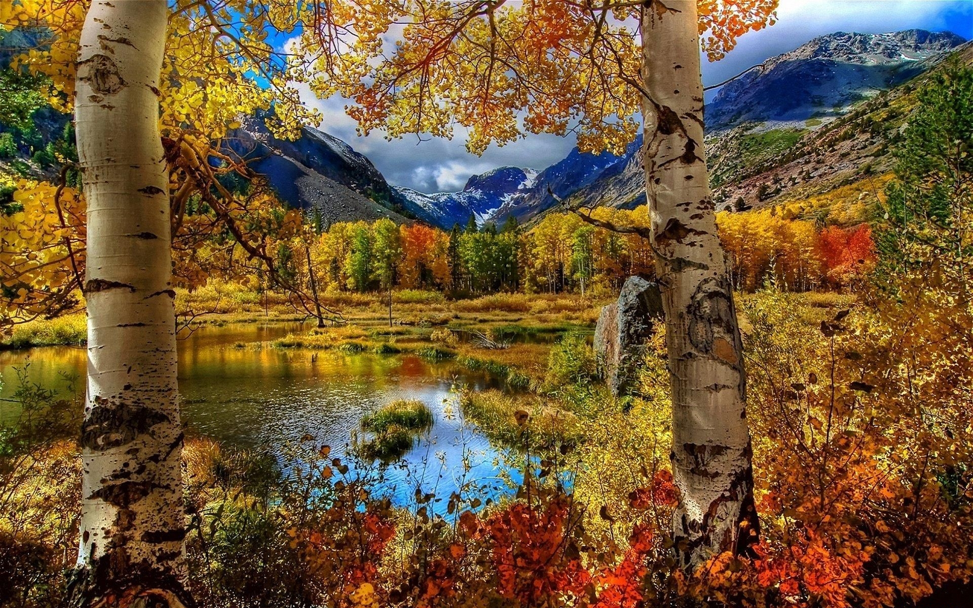 32657 download wallpaper Landscape, Rivers, Mountains, Autumn screensavers and pictures for free