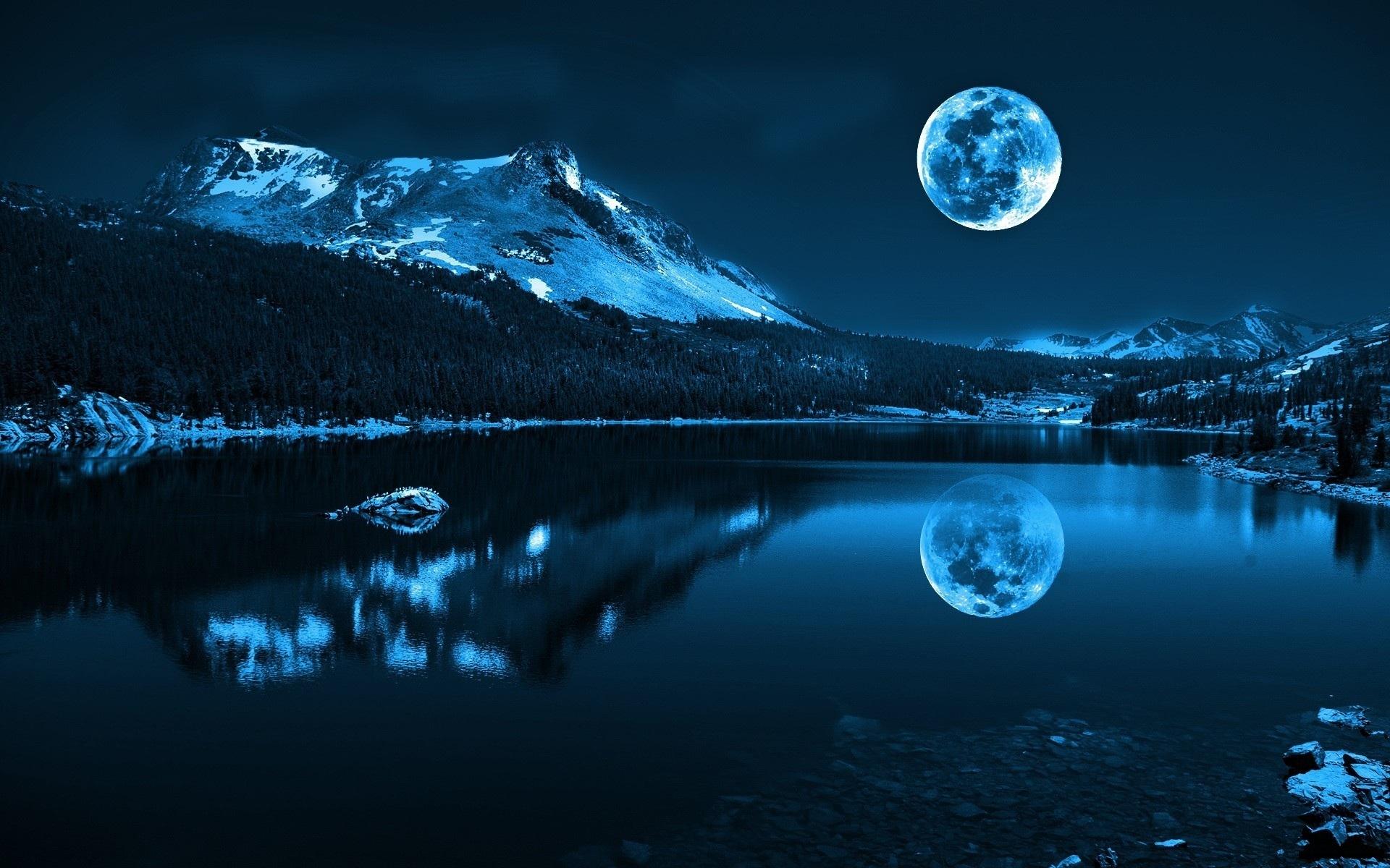 50020 завантажити шпалери Природа, Пейзаж, Ніч, Місяць, Озера - заставки і картинки безкоштовно