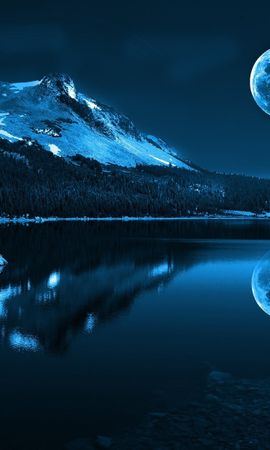 50020 завантажити шпалери Пейзаж, Природа, Ніч, Місяць, Озера - заставки і картинки безкоштовно