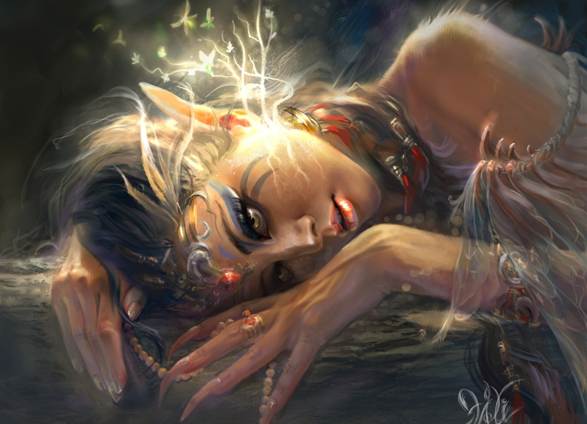96218 download wallpaper Fantasy, Girl, Elf, Ears, Art, Shine, Light, Leaves screensavers and pictures for free