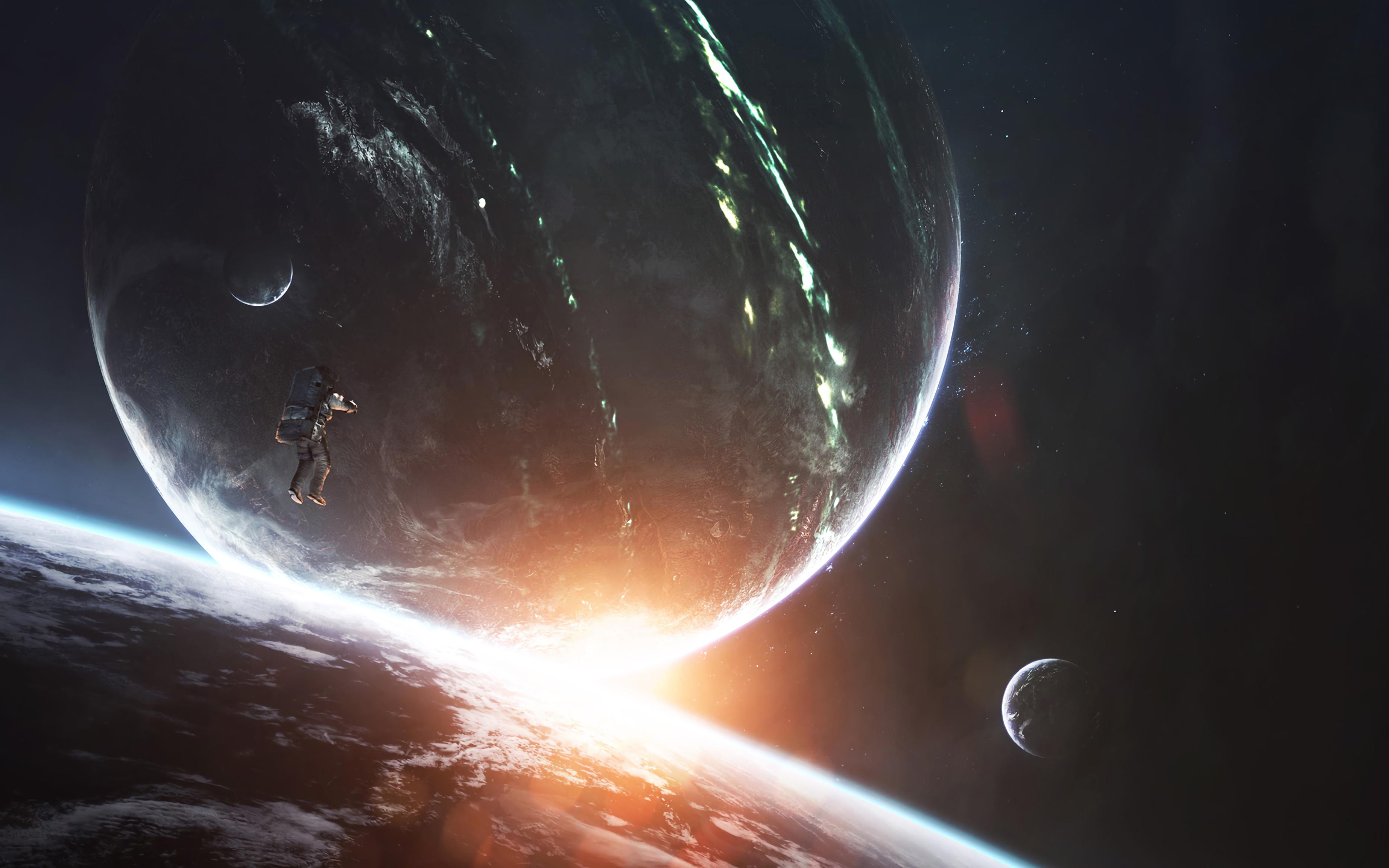 155896 fond d'écran 1080x2400 sur votre téléphone gratuitement, téléchargez des images Planètes, Univers, Éclat, Brillant, Flash, Cosmonaute, Espace Ouvert 1080x2400 sur votre mobile