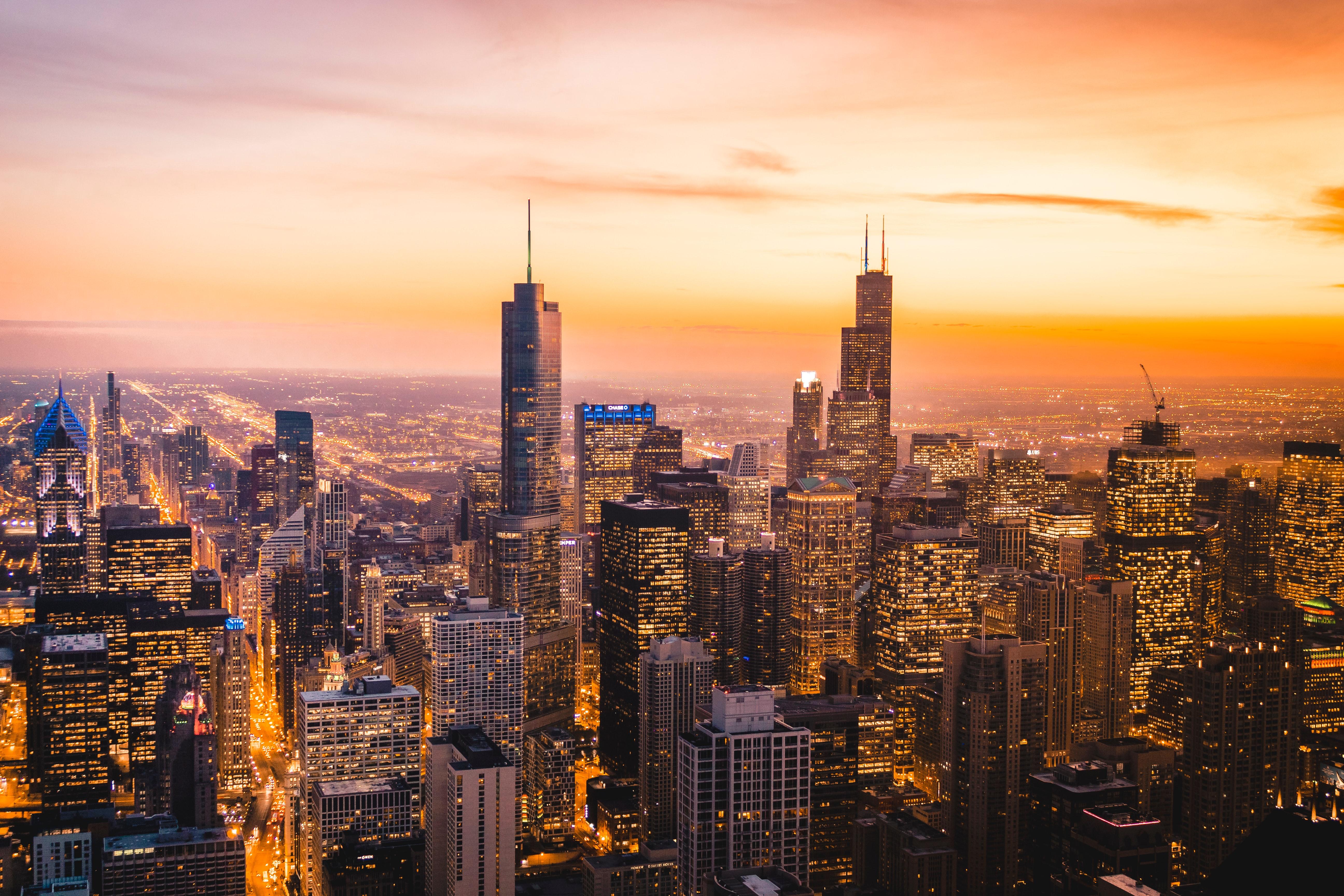 76019壁紙のダウンロード市, 都市, 建物, ライト, 高層ビル, 高 層 ビル, イブニング, 夕方, アーキテクチャ-スクリーンセーバーと写真を無料で