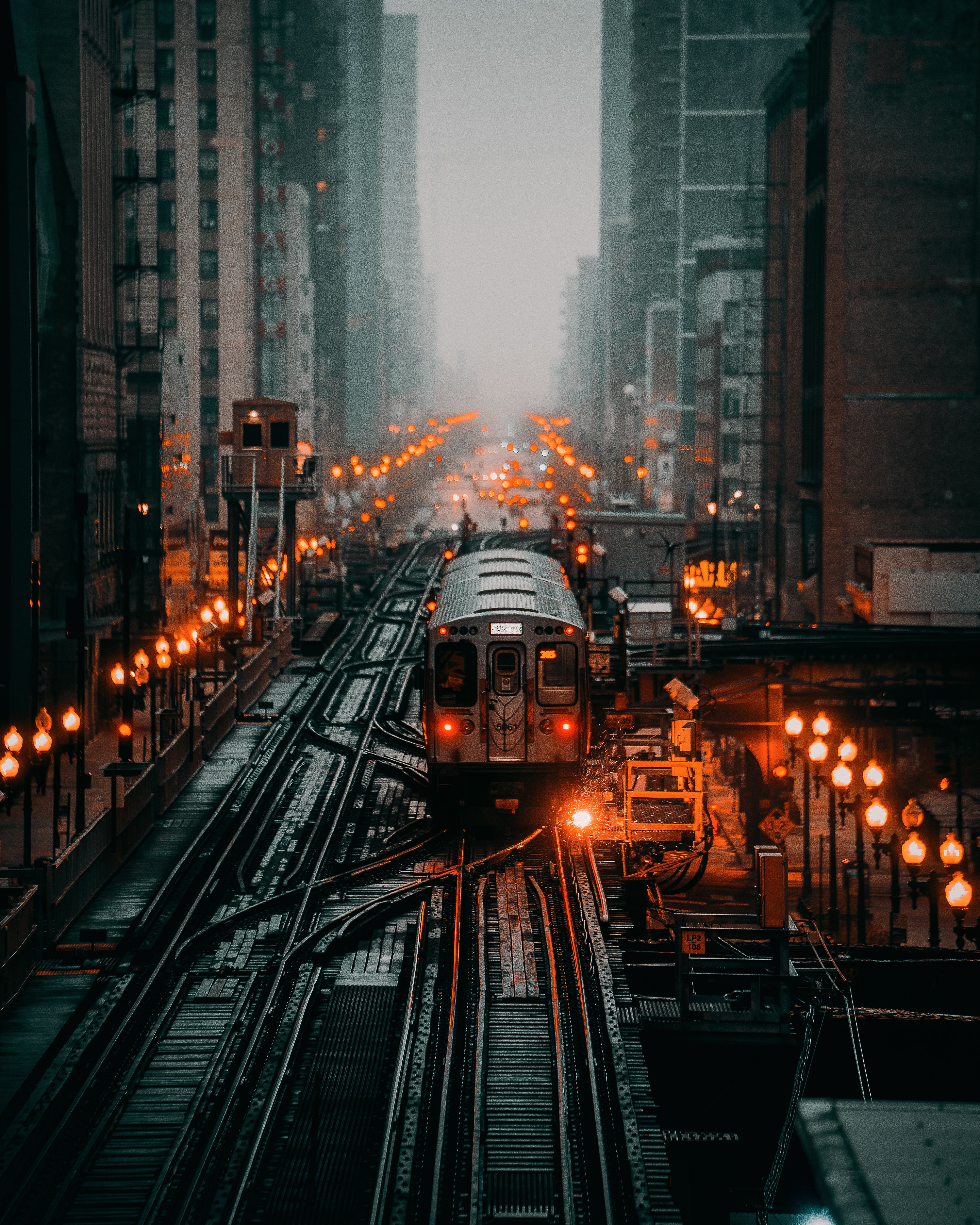130633 Screensavers and Wallpapers Train for phone. Download City, Miscellanea, Miscellaneous, Fog, Railway, Rails, Train pictures for free