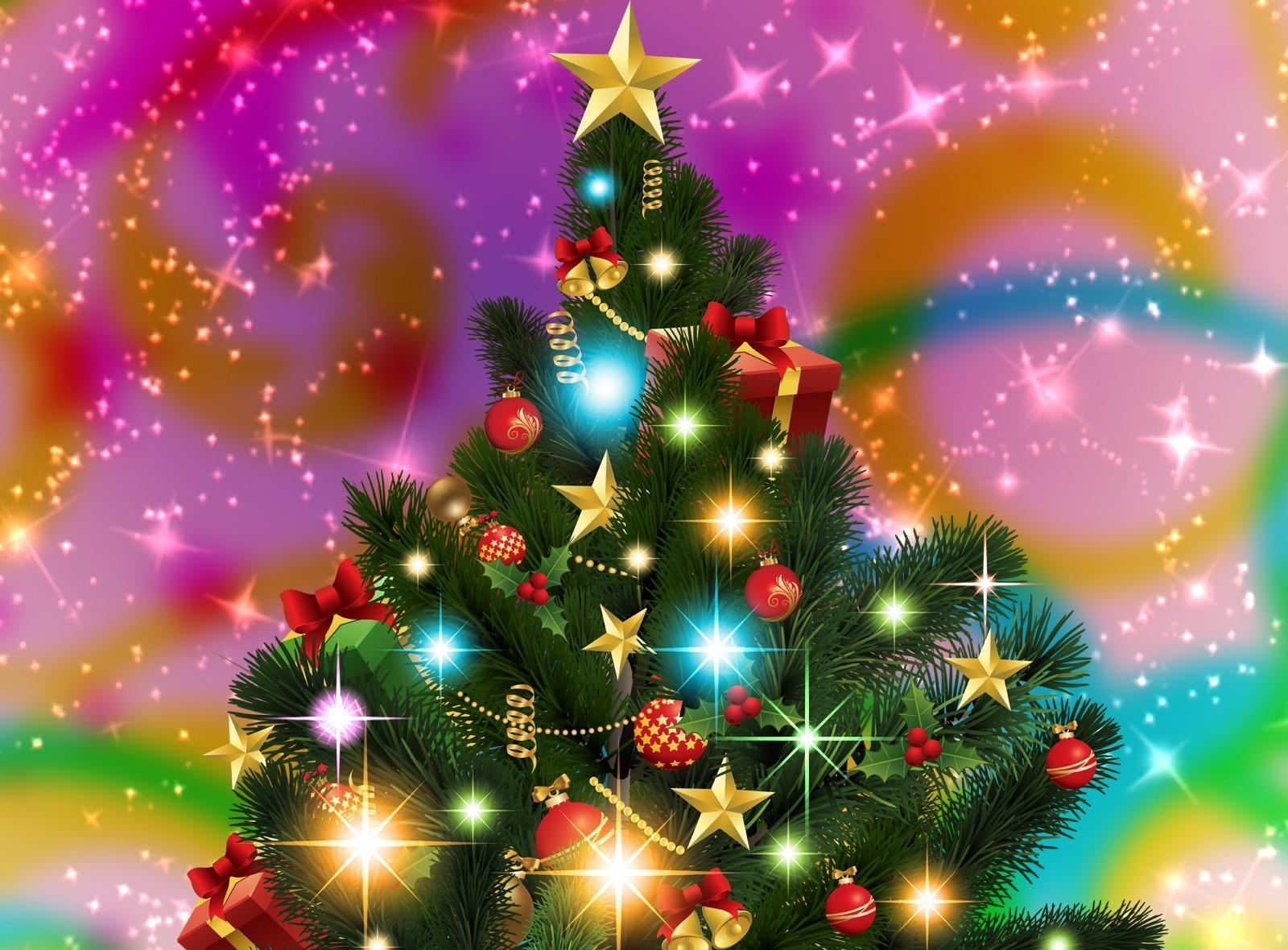 133575 скачать обои Праздники, Елка, Звезды, Сияние, Праздник, Гирлянды - заставки и картинки бесплатно