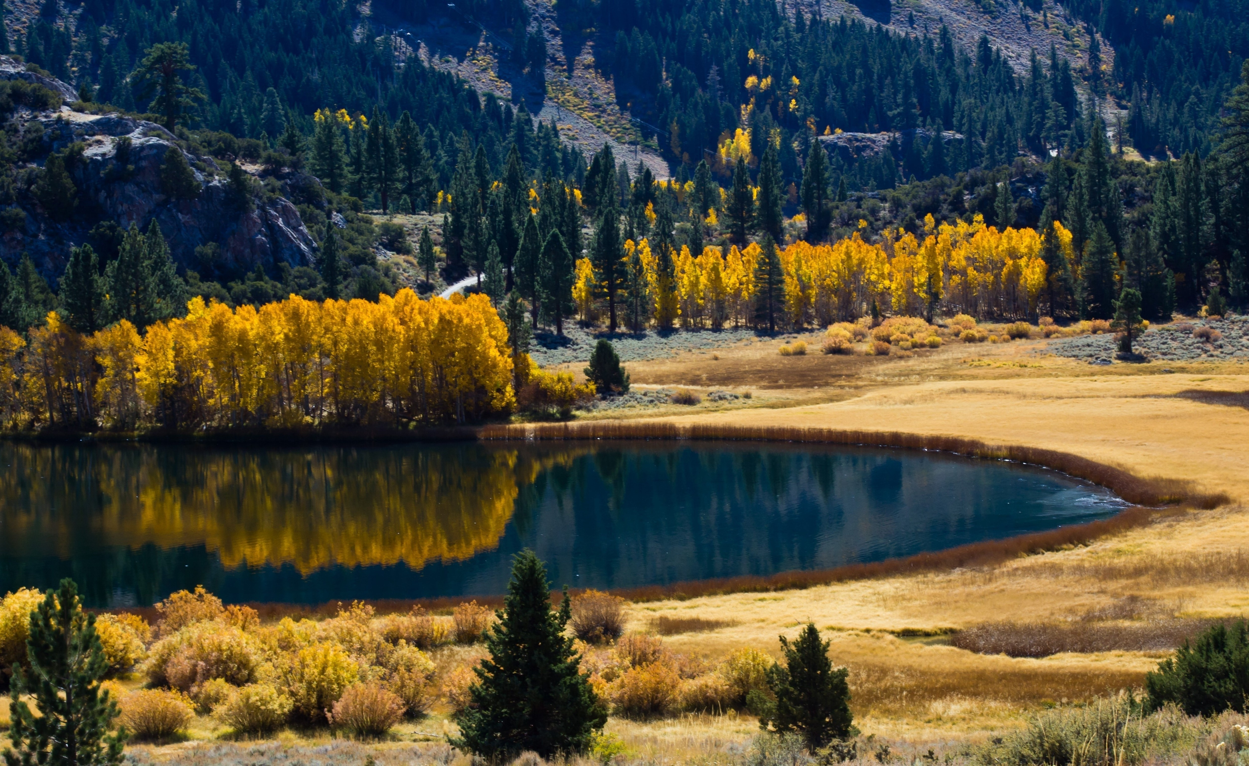 116119 免費下載壁紙 性质, 秋, 湖, 湖景, 树, 山 屏保和圖片