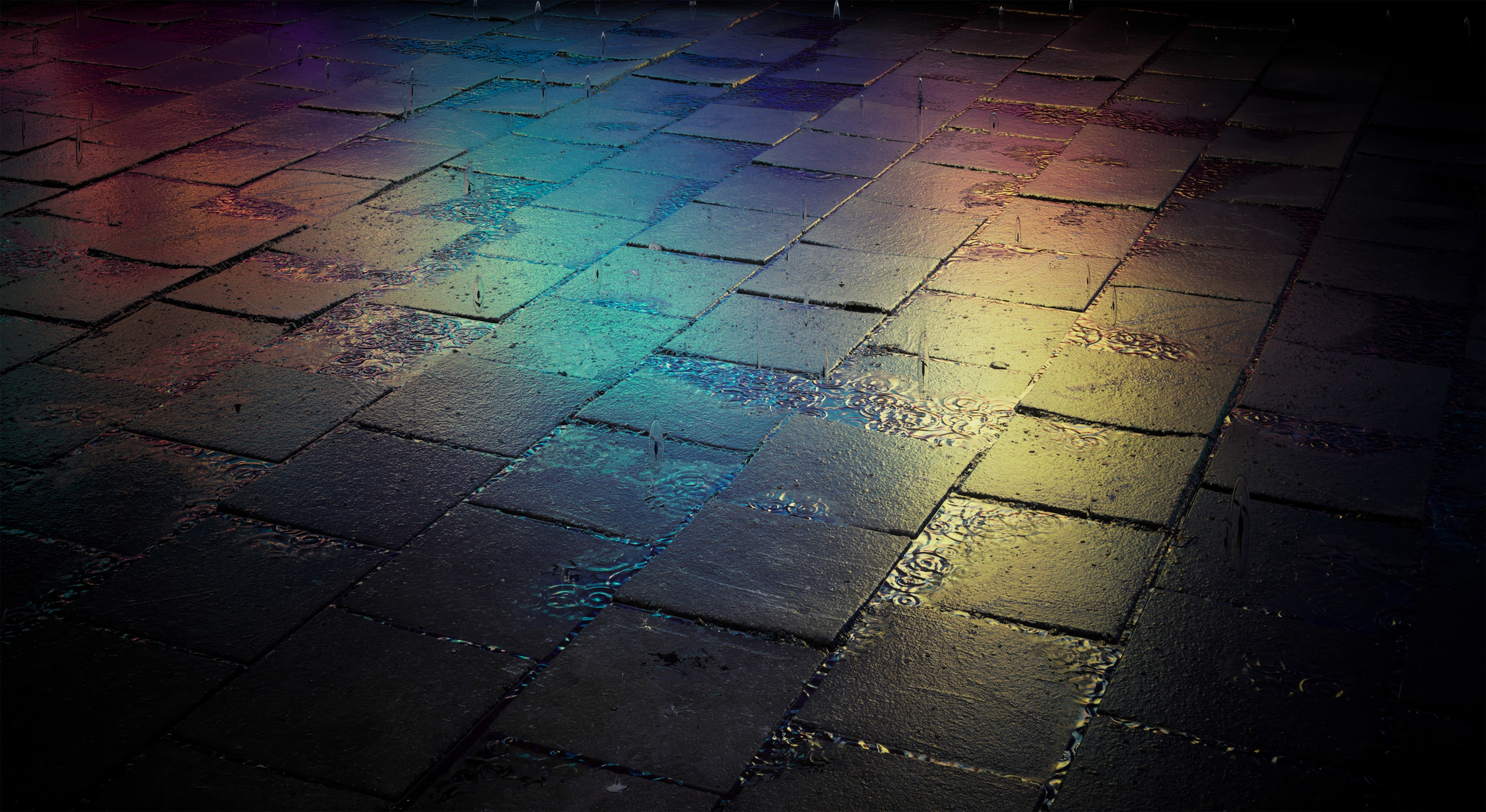 140595 download wallpaper Dark, Tile, Street, Wet, Gradient, Multicolored, Motley screensavers and pictures for free