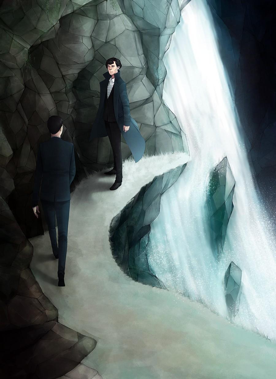 17854 скачать обои Люди, Мужчины, Водопады, Рисунки, Шерлок (Sherlock) - заставки и картинки бесплатно
