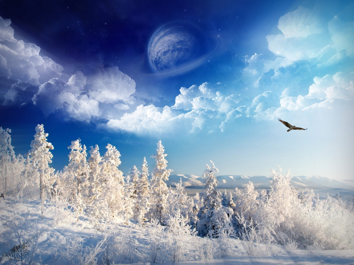 32243 download wallpaper Landscape, Winter, Art Photo screensavers and pictures for free