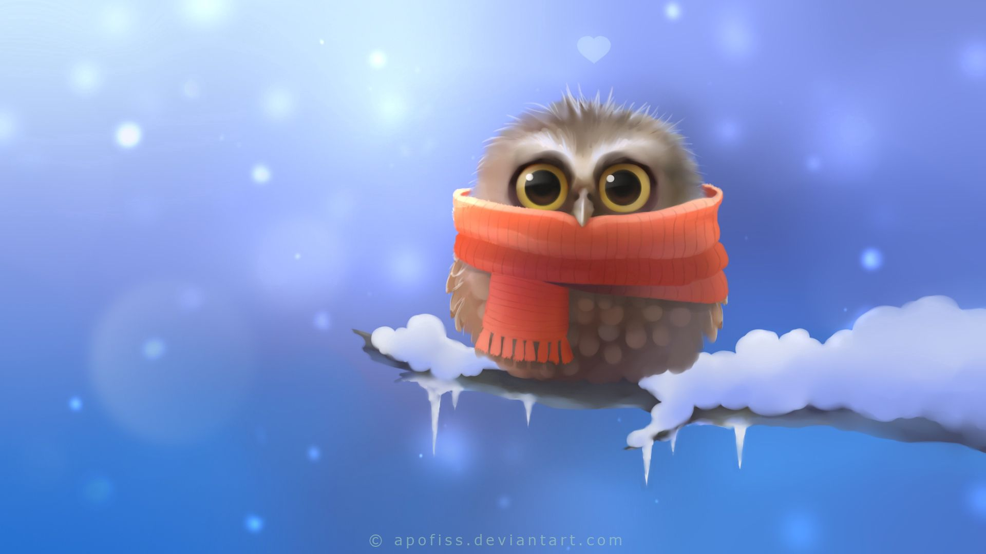 73610 Screensavers and Wallpapers Scarf for phone. Download Art, Owl, Snow, Bird, Branch, Heart, Apofiss, Scarf, Owlet pictures for free