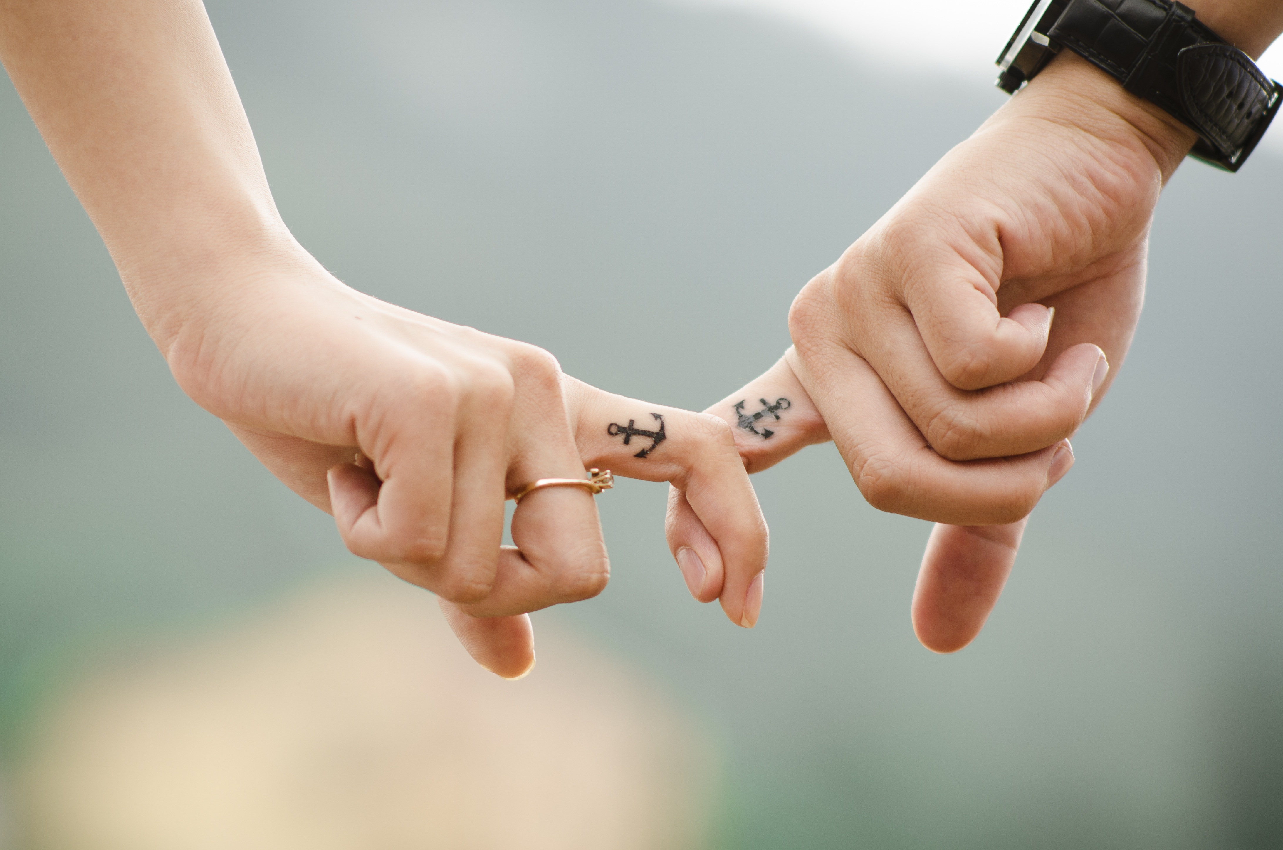 153011 download wallpaper Love, Couple, Pair, Hands, Tattoo, Romance, Tattoos, Anchor screensavers and pictures for free