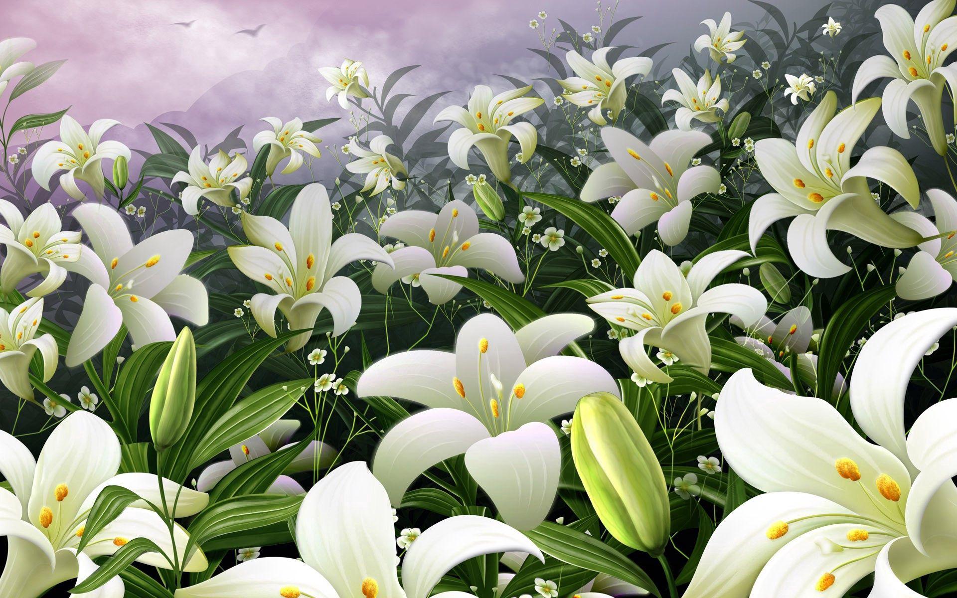 102794 télécharger le fond d'écran Fleurs, Lilies, Polyana, Clairière, Bourgeon, Étamines, Sky - économiseurs d'écran et images gratuitement