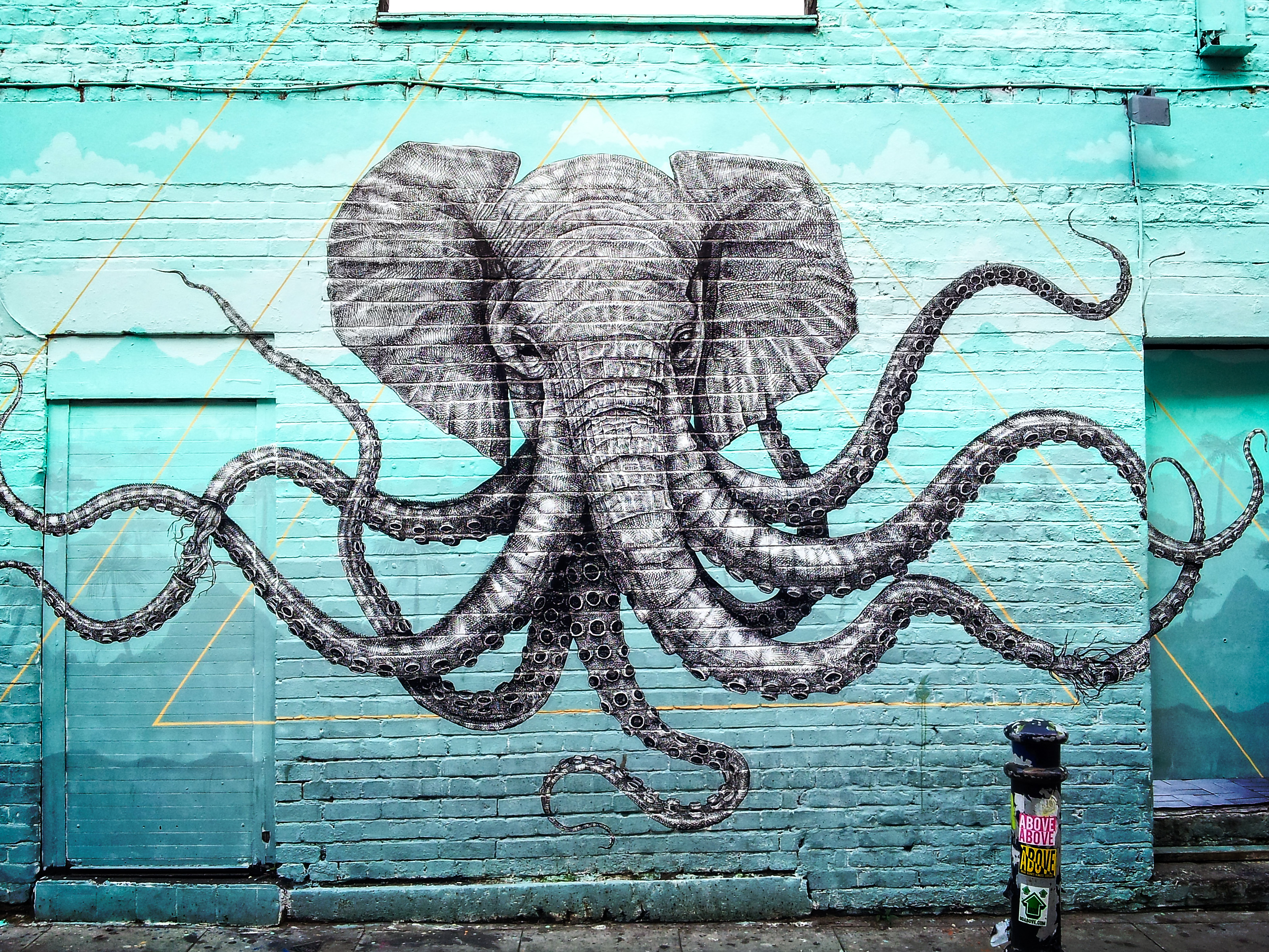 92679 download wallpaper Graffiti, Elephant, Octopus, Tentacles, Art screensavers and pictures for free