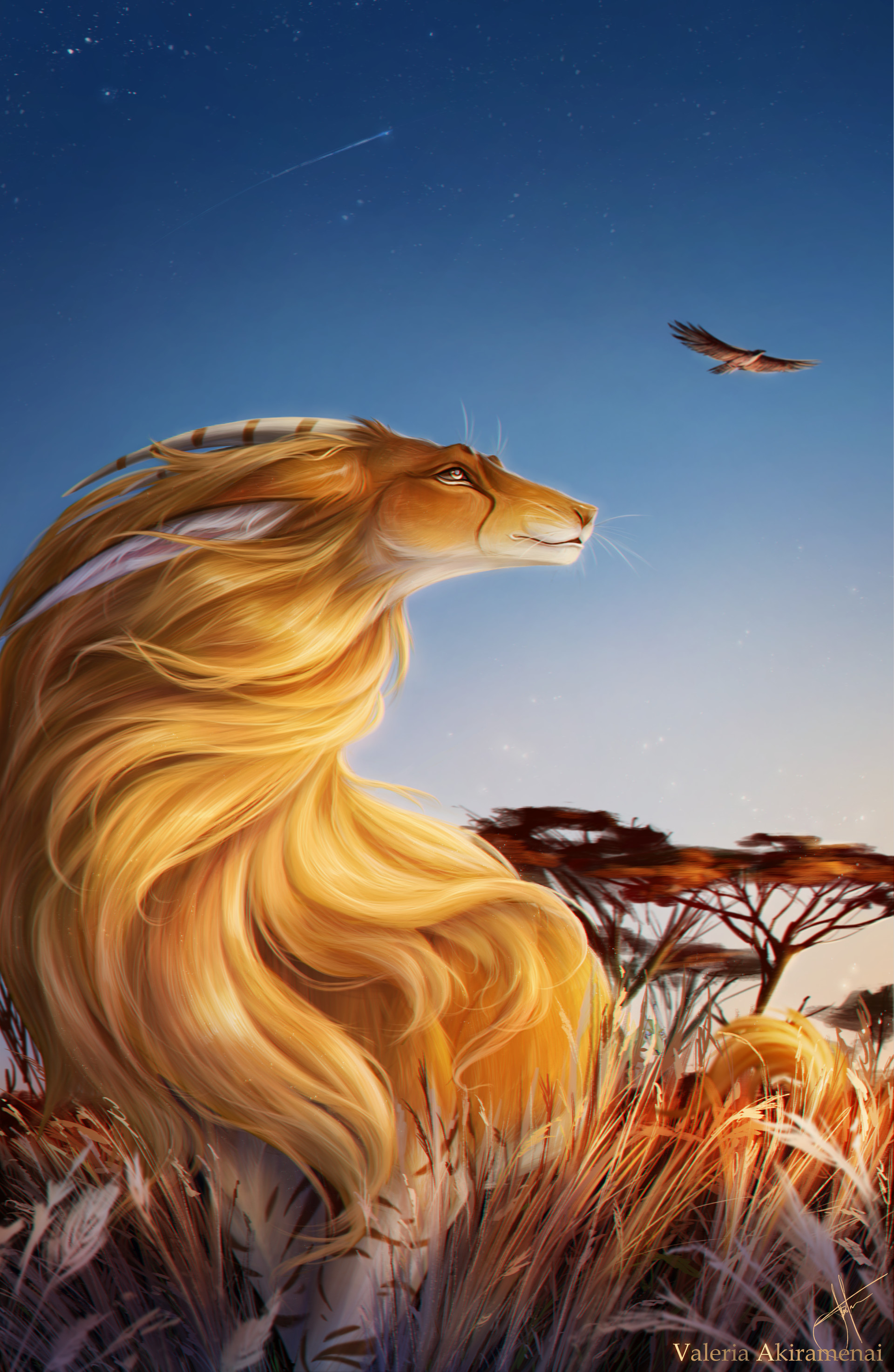85735 download wallpaper Lioness, Nice, Sweetheart, Bird, Grass, Art screensavers and pictures for free