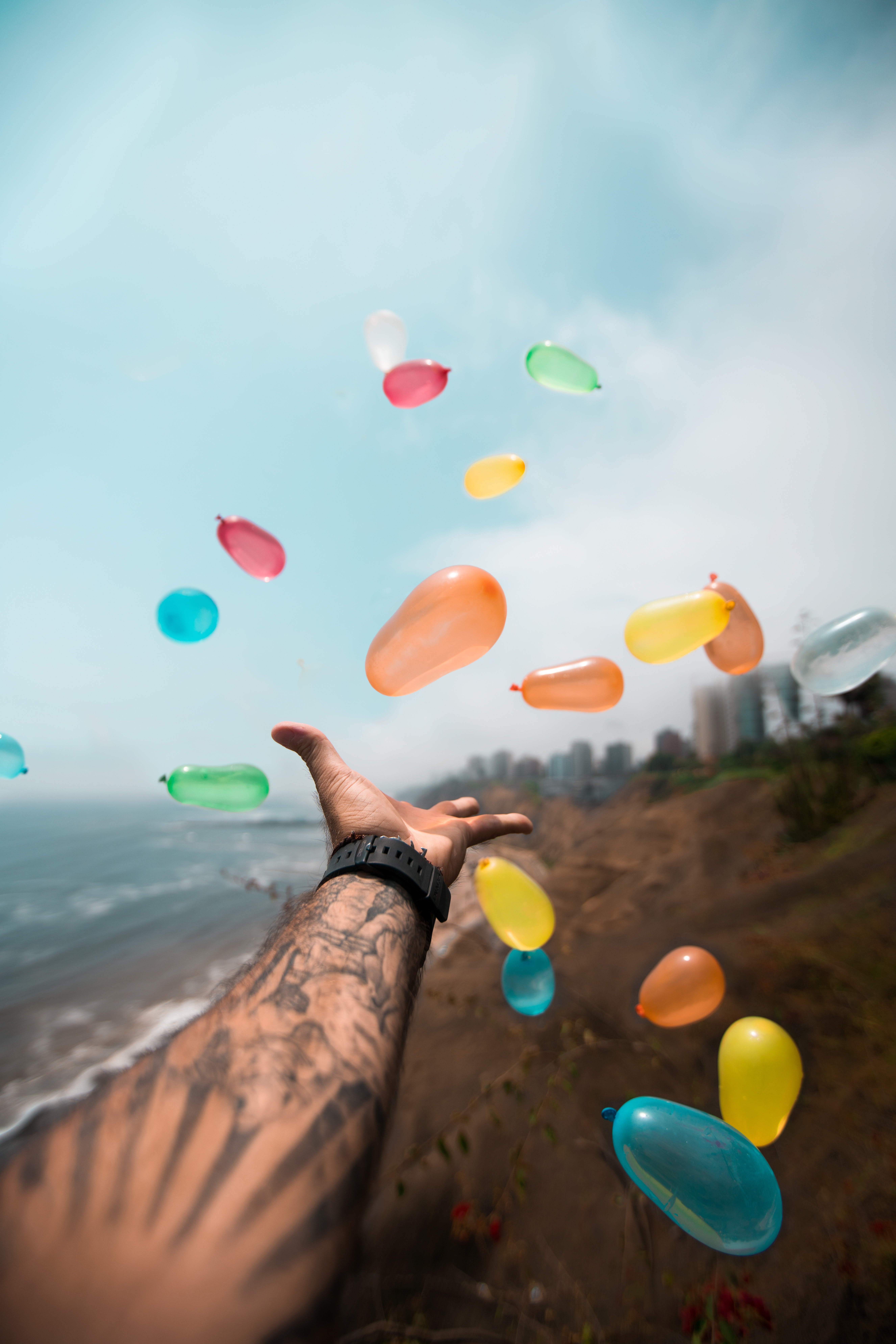 131661 Screensavers and Wallpapers Balloons for phone. Download Balloons, Hand, Miscellanea, Miscellaneous, Multicolored, Flight, Tattoo pictures for free