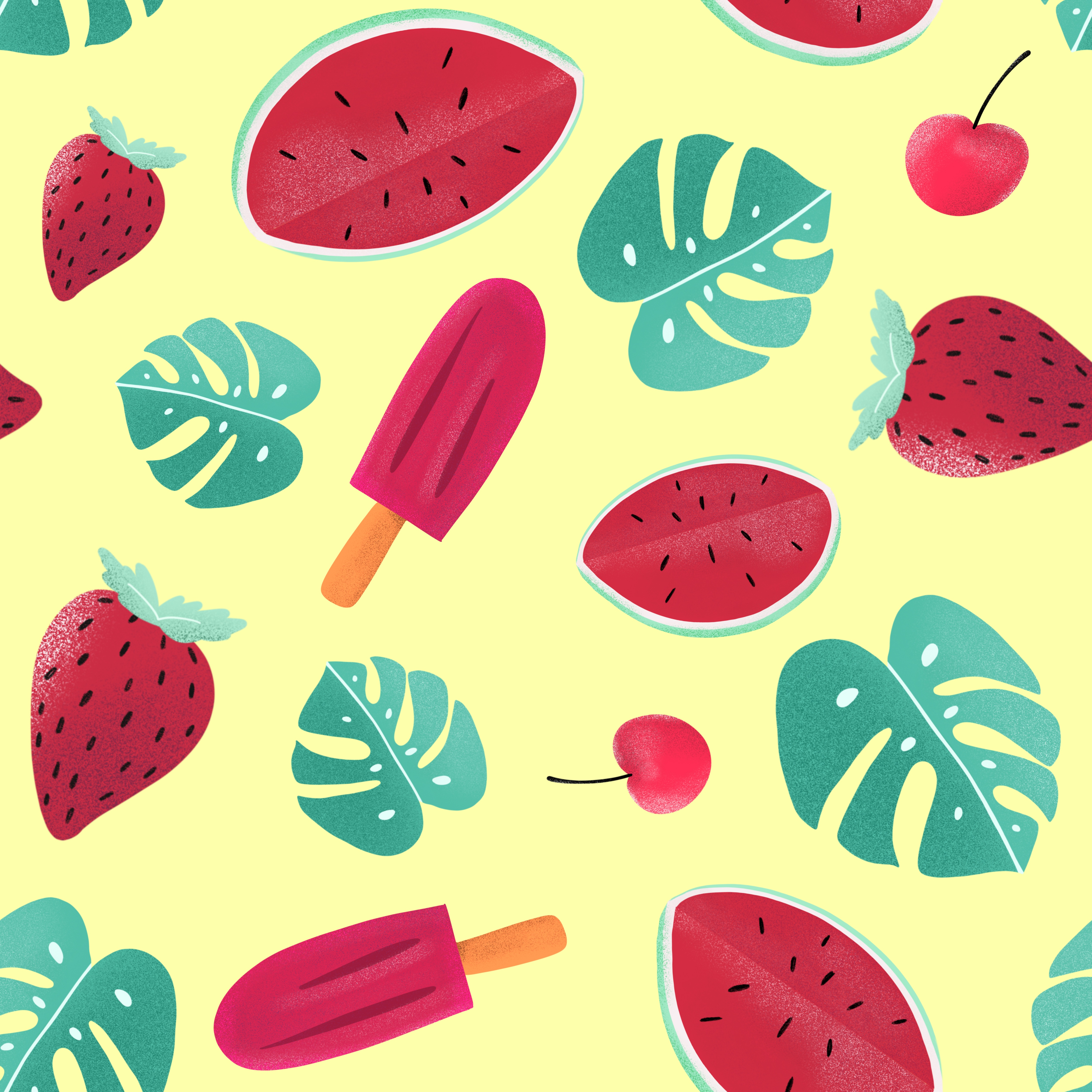 121706 download wallpaper Textures, Texture, Ice Cream, Watermelon, Strawberry, Leaves, Patterns screensavers and pictures for free