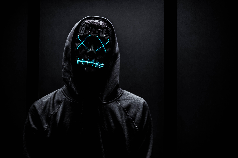 109917 Lade kostenlos Schwarz Hintergrundbilder für dein Handy herunter, Das Schwarze, Neon, Maske, Anonym Schwarz Bilder und Bildschirmschoner für dein Handy