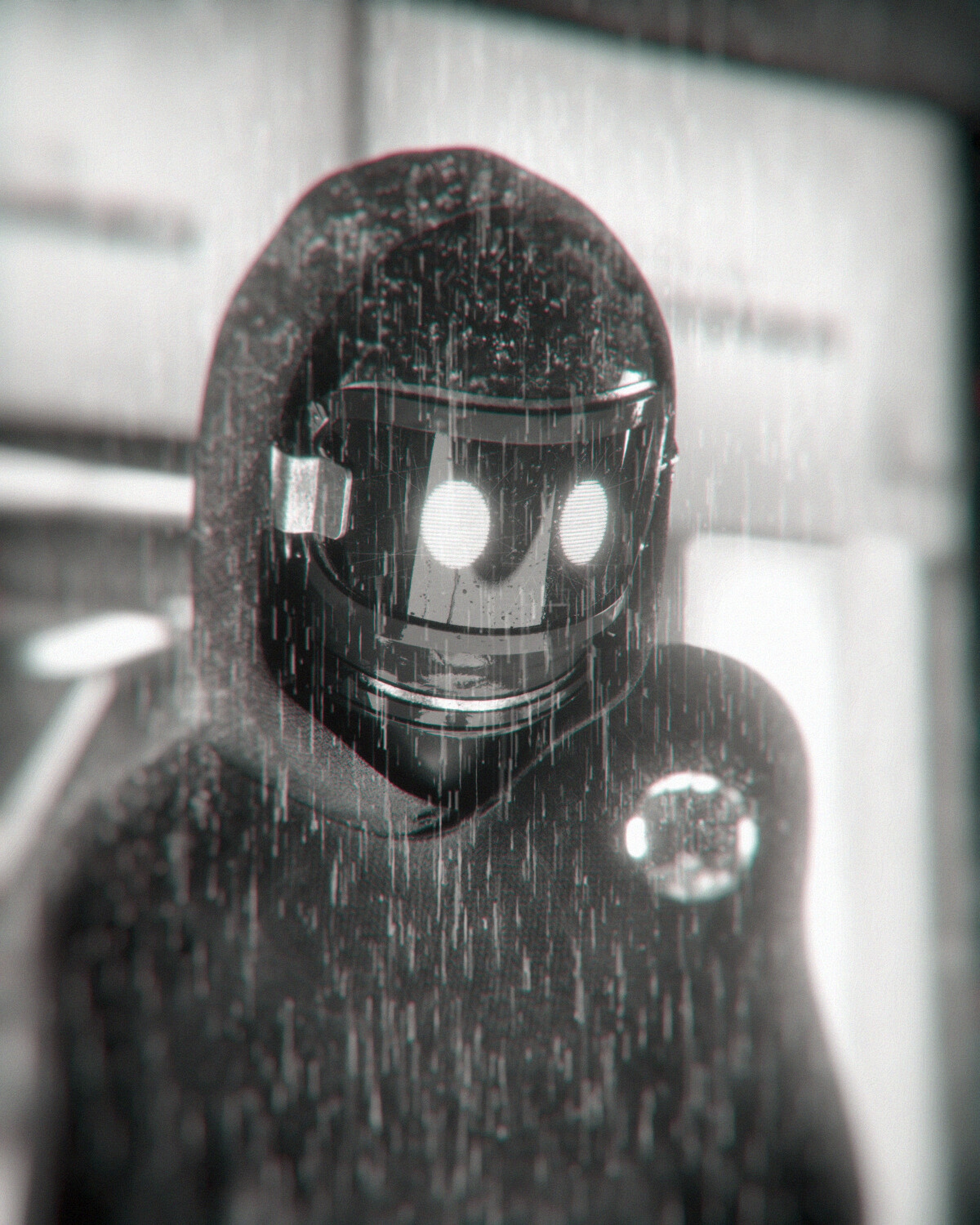 128985 Screensavers and Wallpapers Robot for phone. Download Art, Rain, Bw, Chb, Mask, Robot, Sci-Fi, Cyborg pictures for free