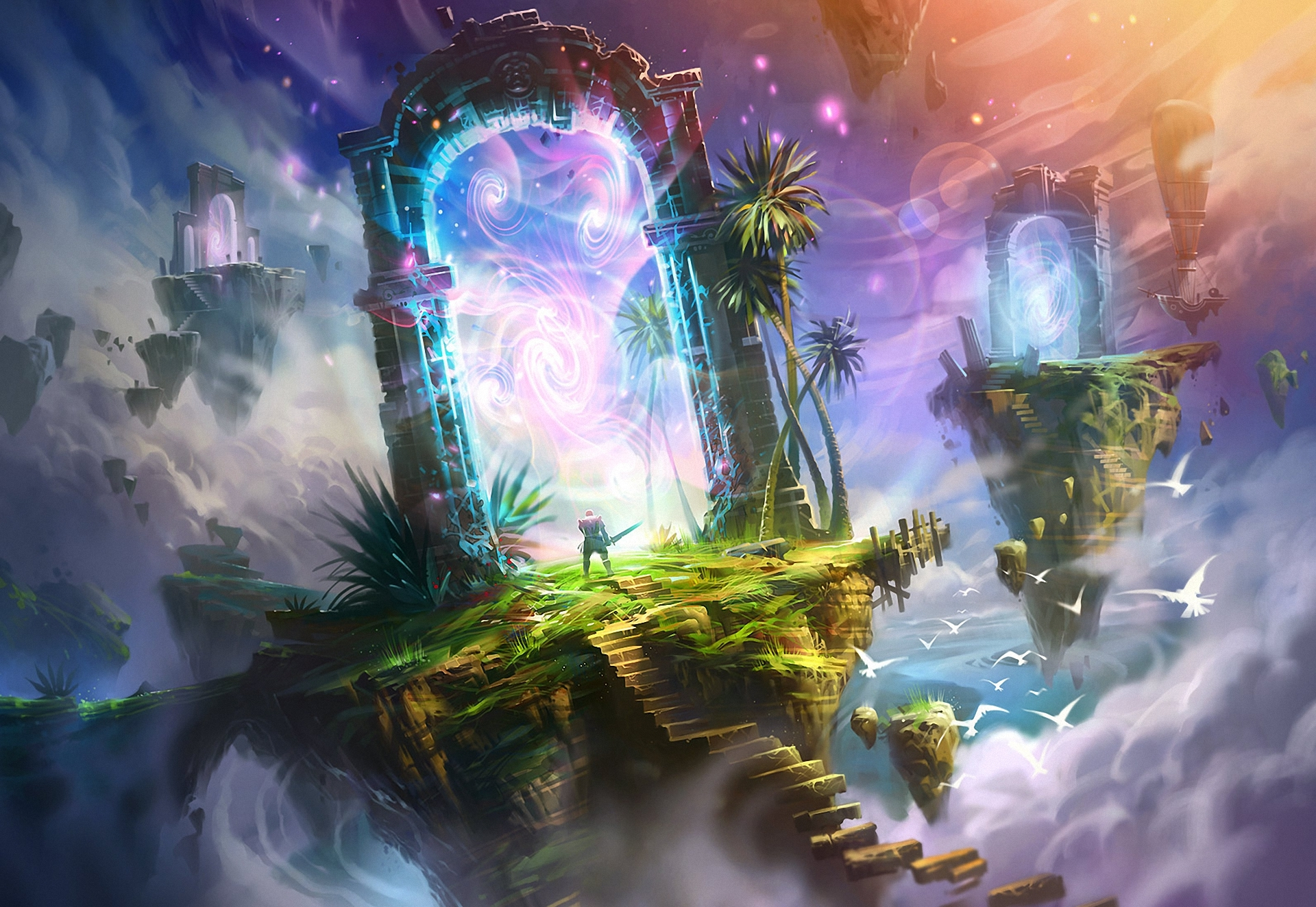 116674 download wallpaper Fantasy, Rocks, Steps, Warrior, Portal, Art screensavers and pictures for free