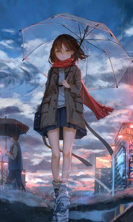 Скачать бесплатно картинку 113386: Девушка, Зонт, Аниме, Дождь, Грусть обои на телефон