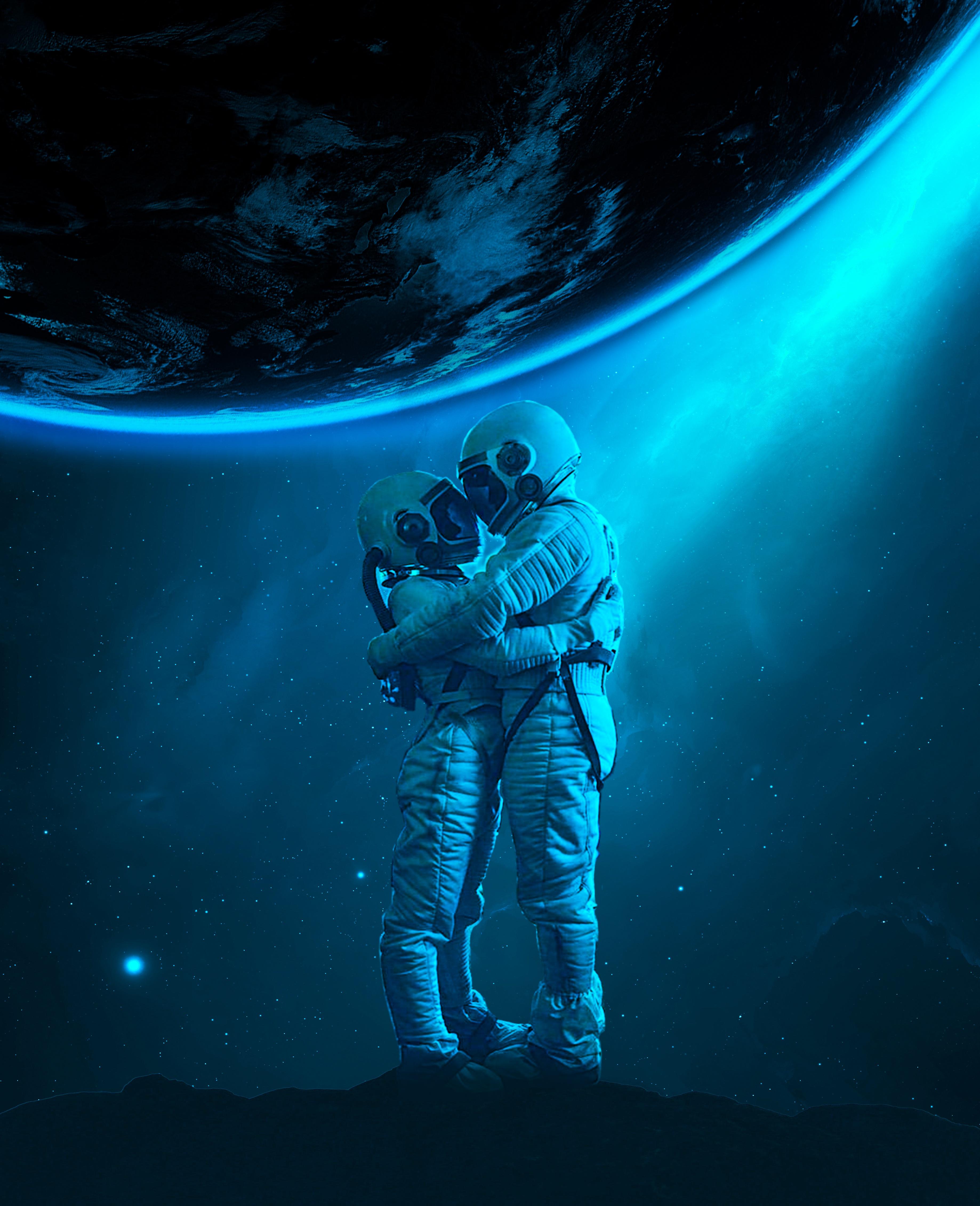 Descargar fondo de pantalla gratis 63004: Miscelánea, Misceláneo, Cosmonautas, Astronautas, Abarcar, Abrazar, Amor, Universo fondo de pantalla para teléfono móvil