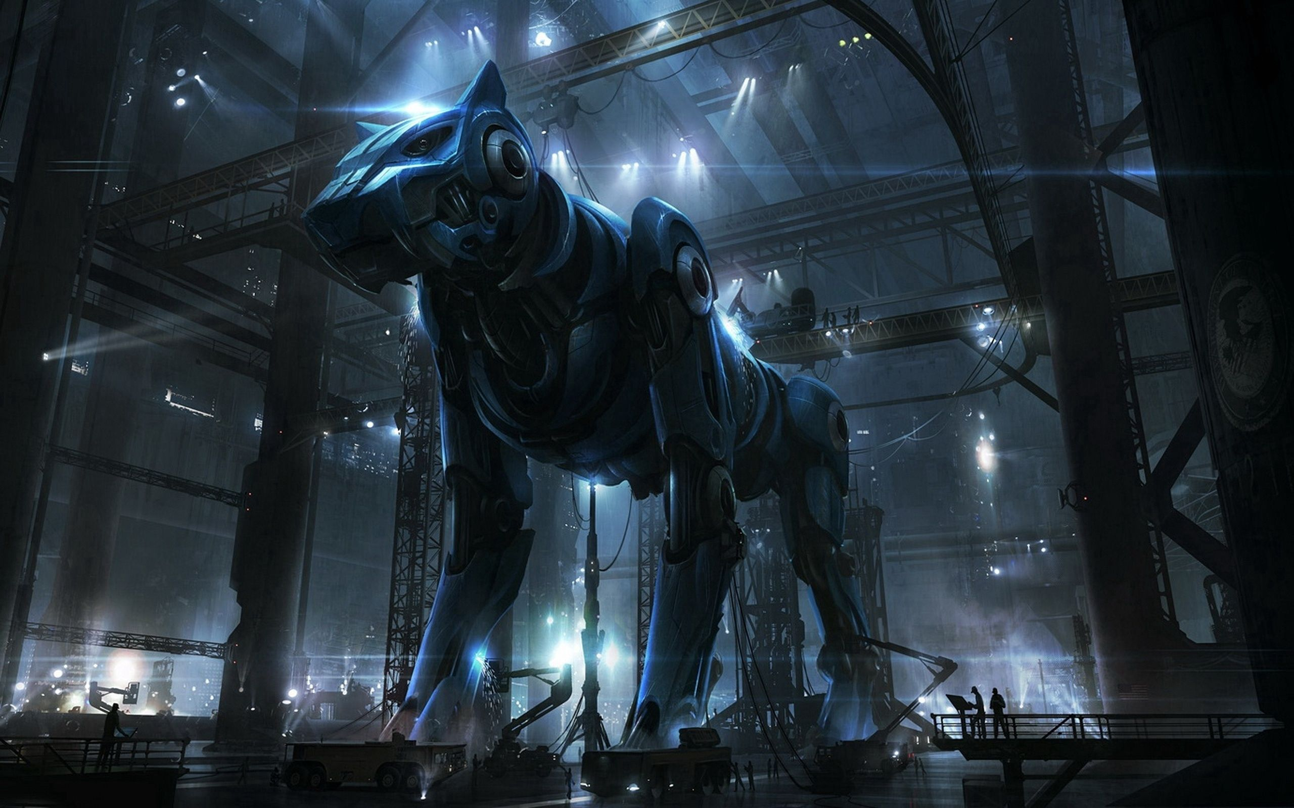 145177 Screensavers and Wallpapers Robot for phone. Download Fantasy, People, Dog, Robot, Cyborg, Hangar pictures for free