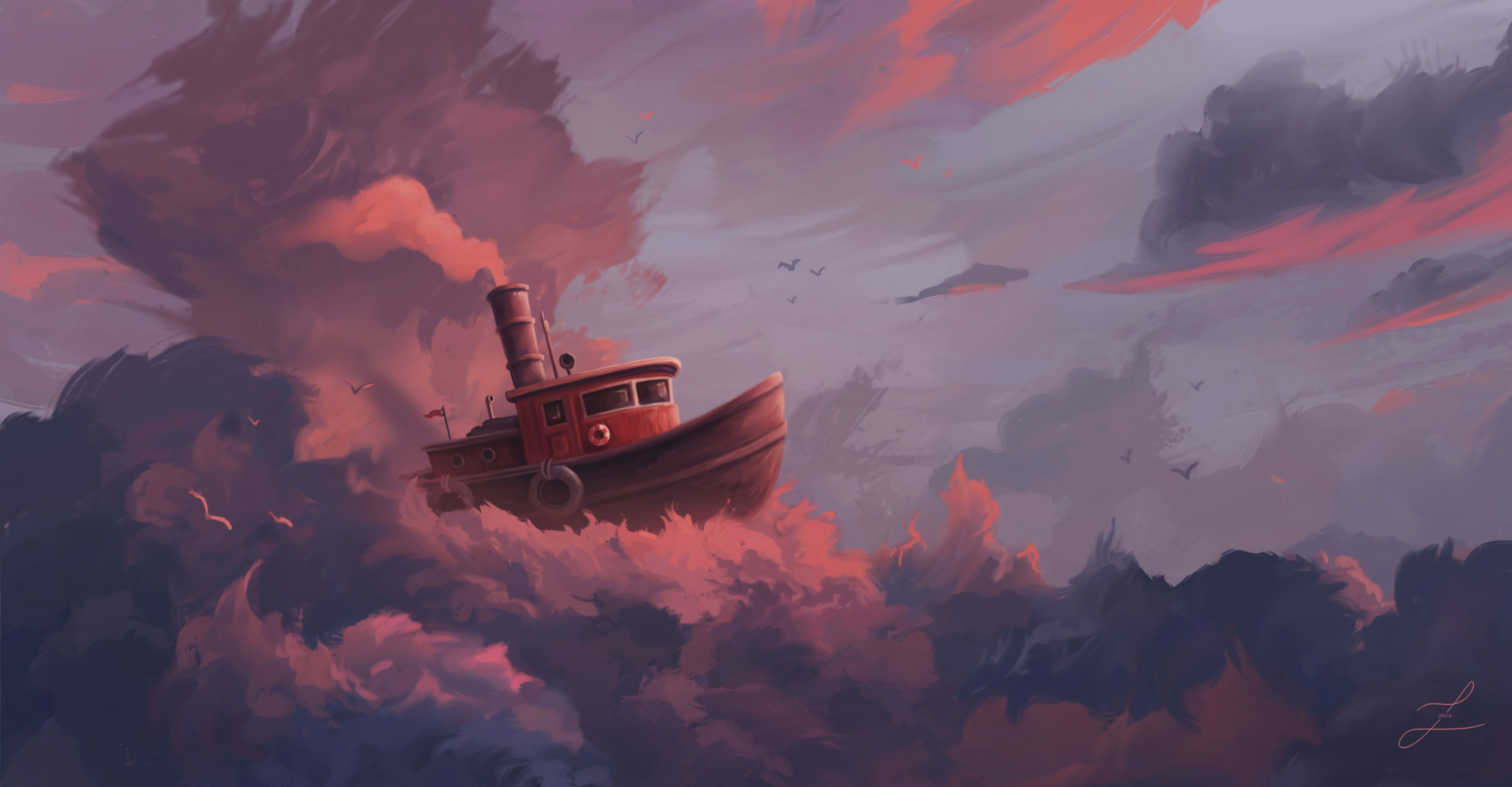 126105 download wallpaper Ship, Clouds, Art, Sky, Swim, Fantastic screensavers and pictures for free