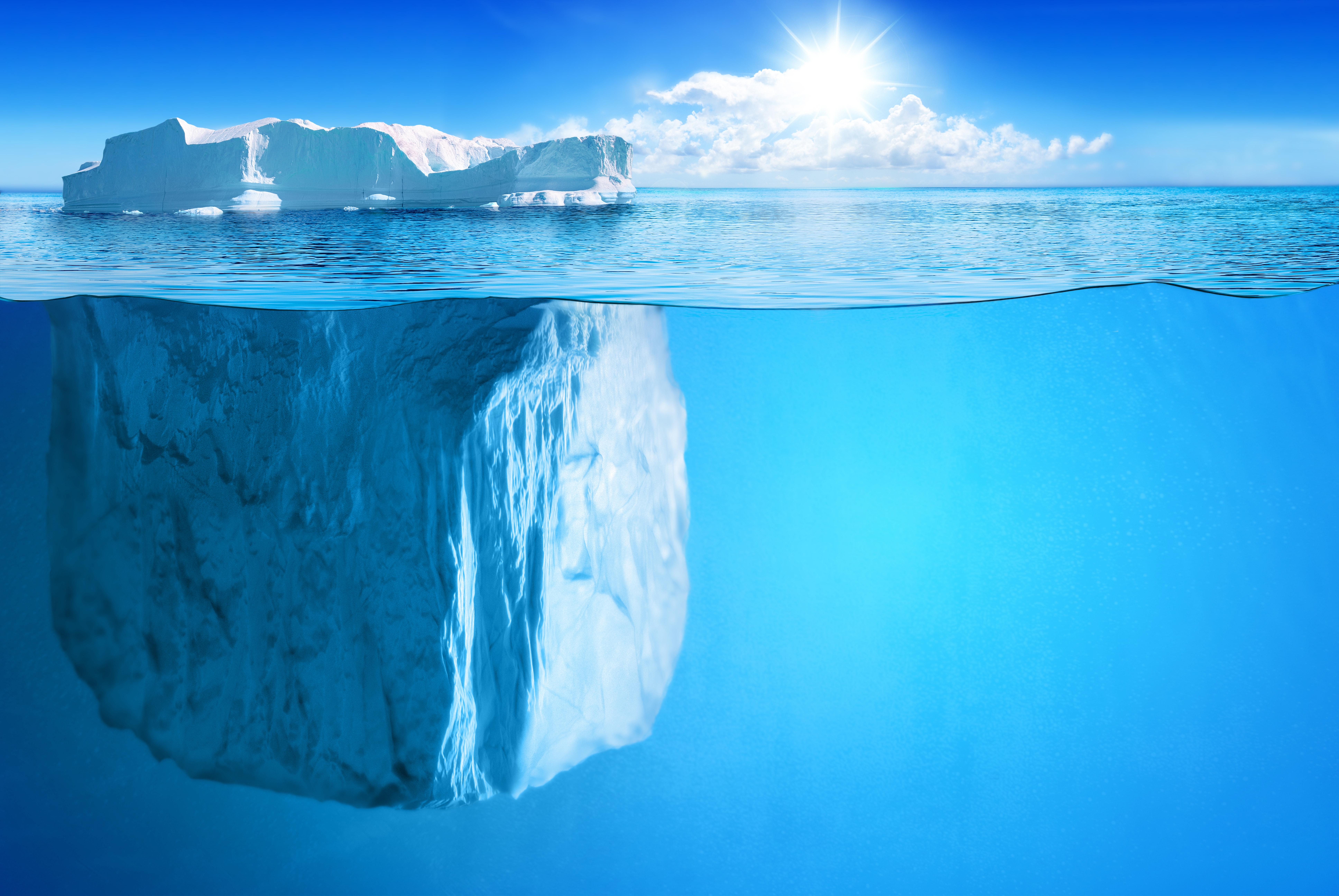 76068壁紙のダウンロード自然, 氷山, 地平線, 水中, ビーム, 光線, サン-スクリーンセーバーと写真を無料で
