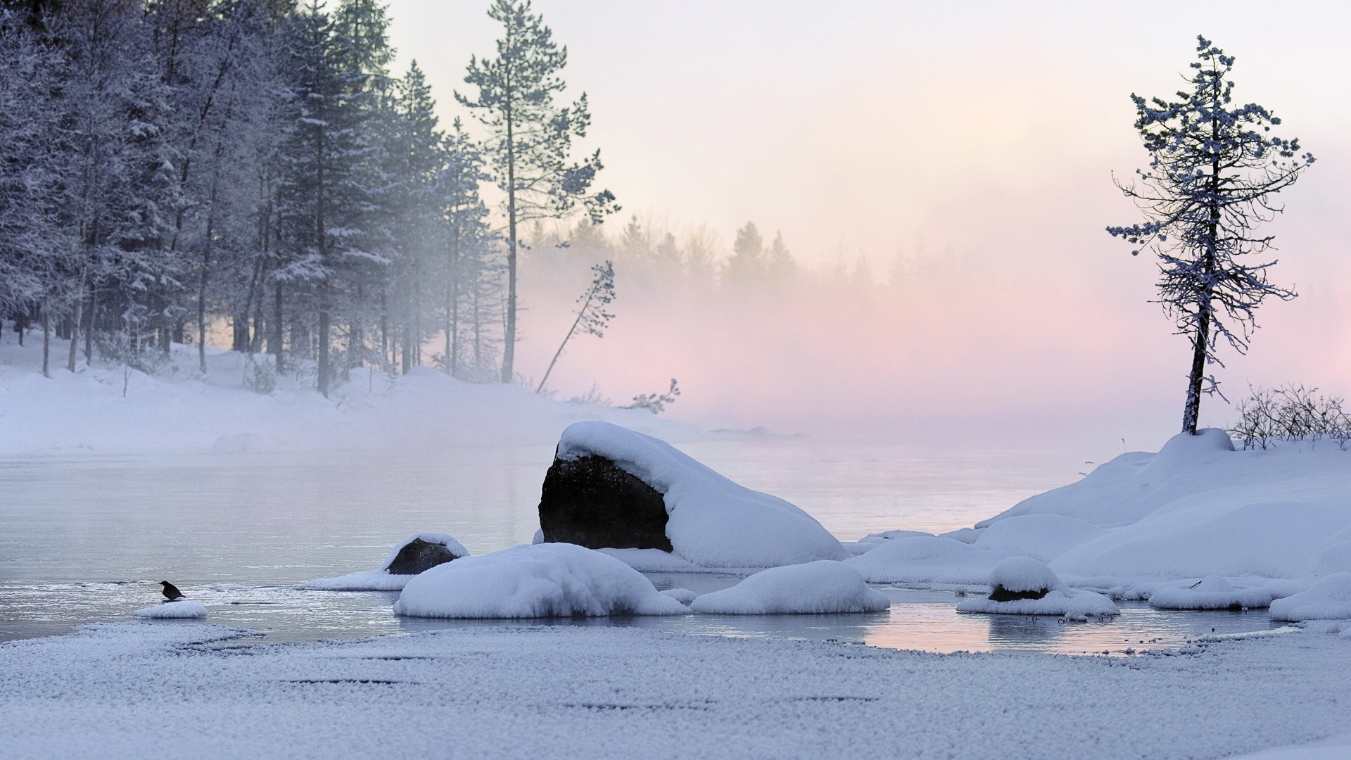 27924 скачать обои Пейзаж, Зима, Река, Снег - заставки и картинки бесплатно