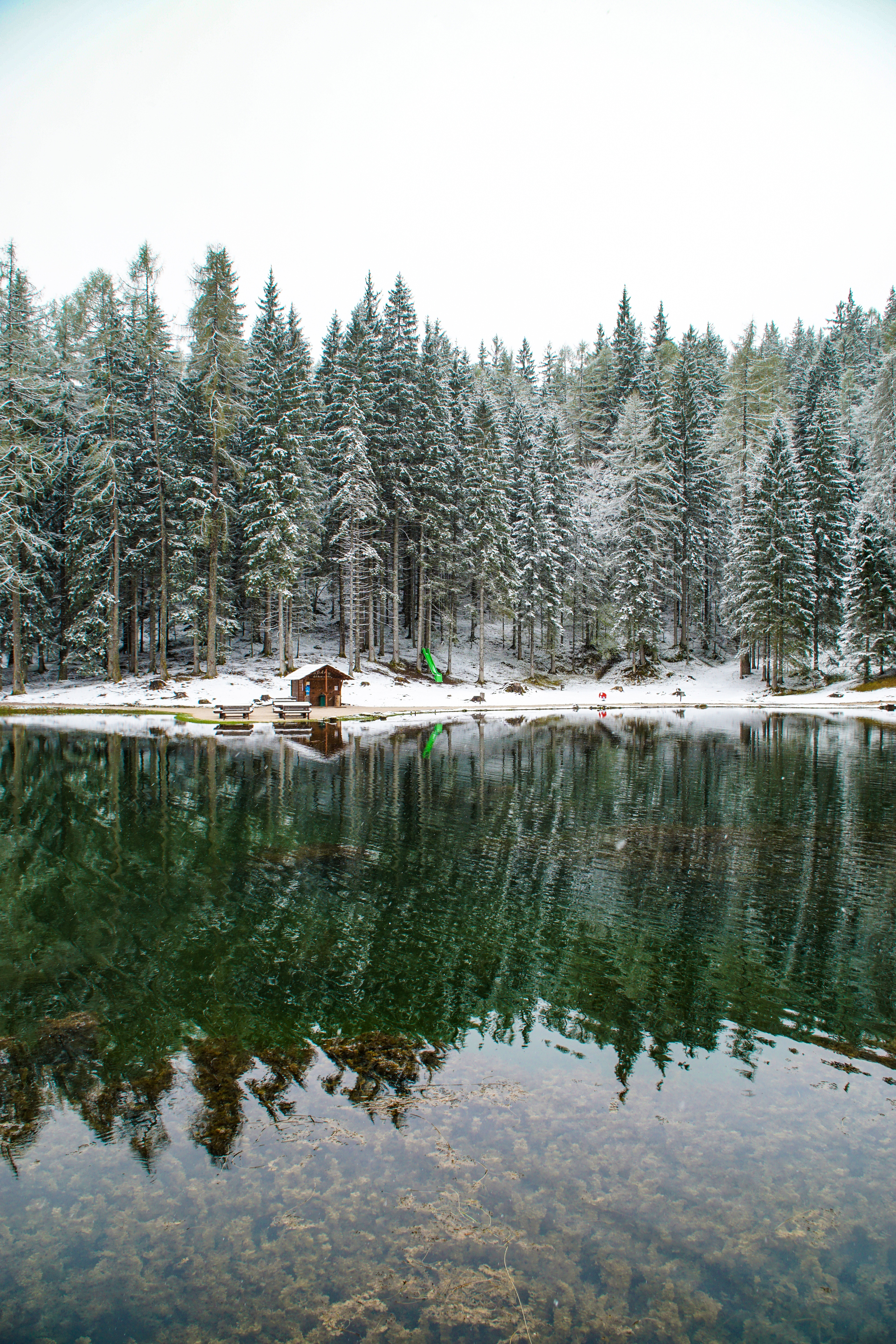 121916 download wallpaper Nature, Lake, Forest, Small House, Lodge, Snow, Privacy, Seclusion, Landscape screensavers and pictures for free