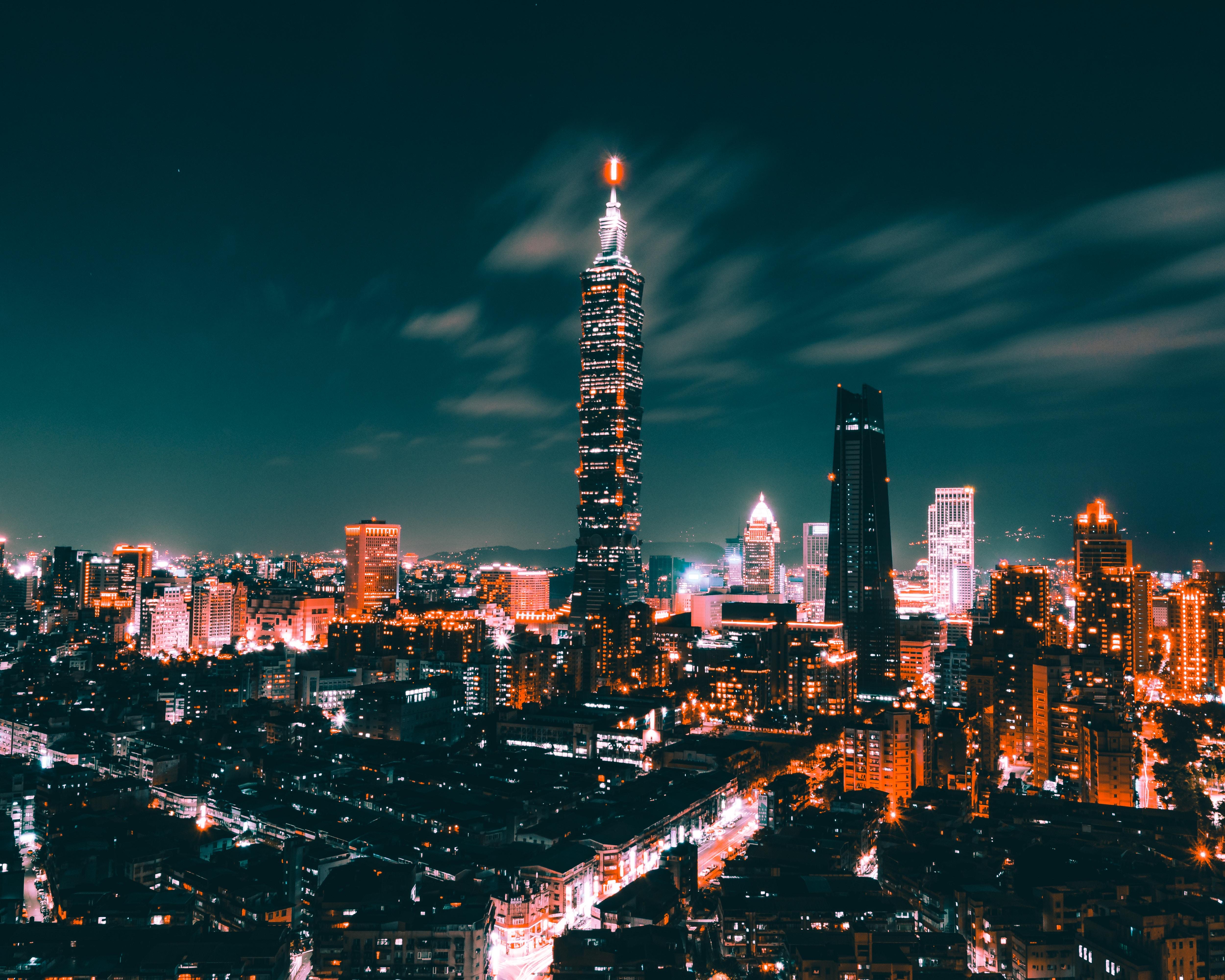 66132 Заставки и Обои Города на телефон. Скачать Ночной Город, Огни Города, Небоскребы, Вид Сверху, Тайвань, Города картинки бесплатно