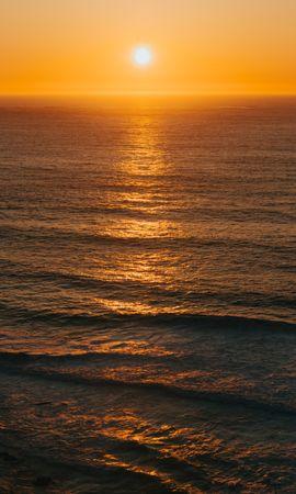 Скачать бесплатно картинку 104118: Природа, Океан, Горизонт, Закат, Волны, Солнце обои на телефон