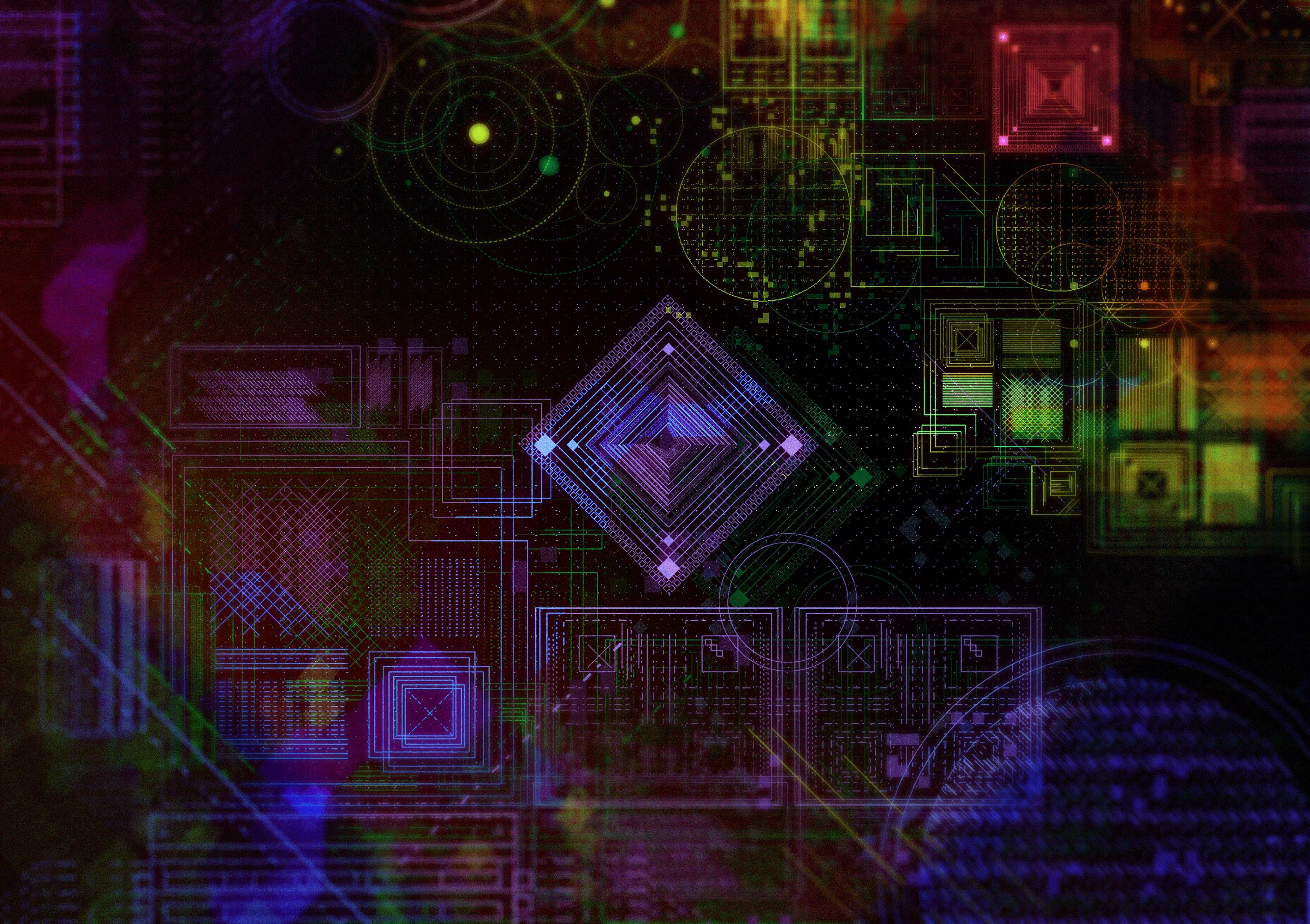 96941 télécharger le fond d'écran Abstrait, Hologramme, Schéma, Modèle, Multicolore, Hétéroclite, Géométrique, Formes, Forme, Lignes - économiseurs d'écran et images gratuitement